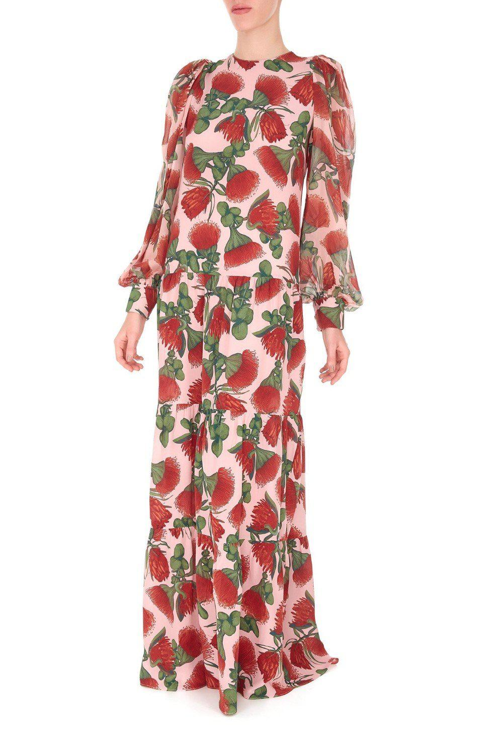 Fiore Long Dress with Voluminous Sleeves