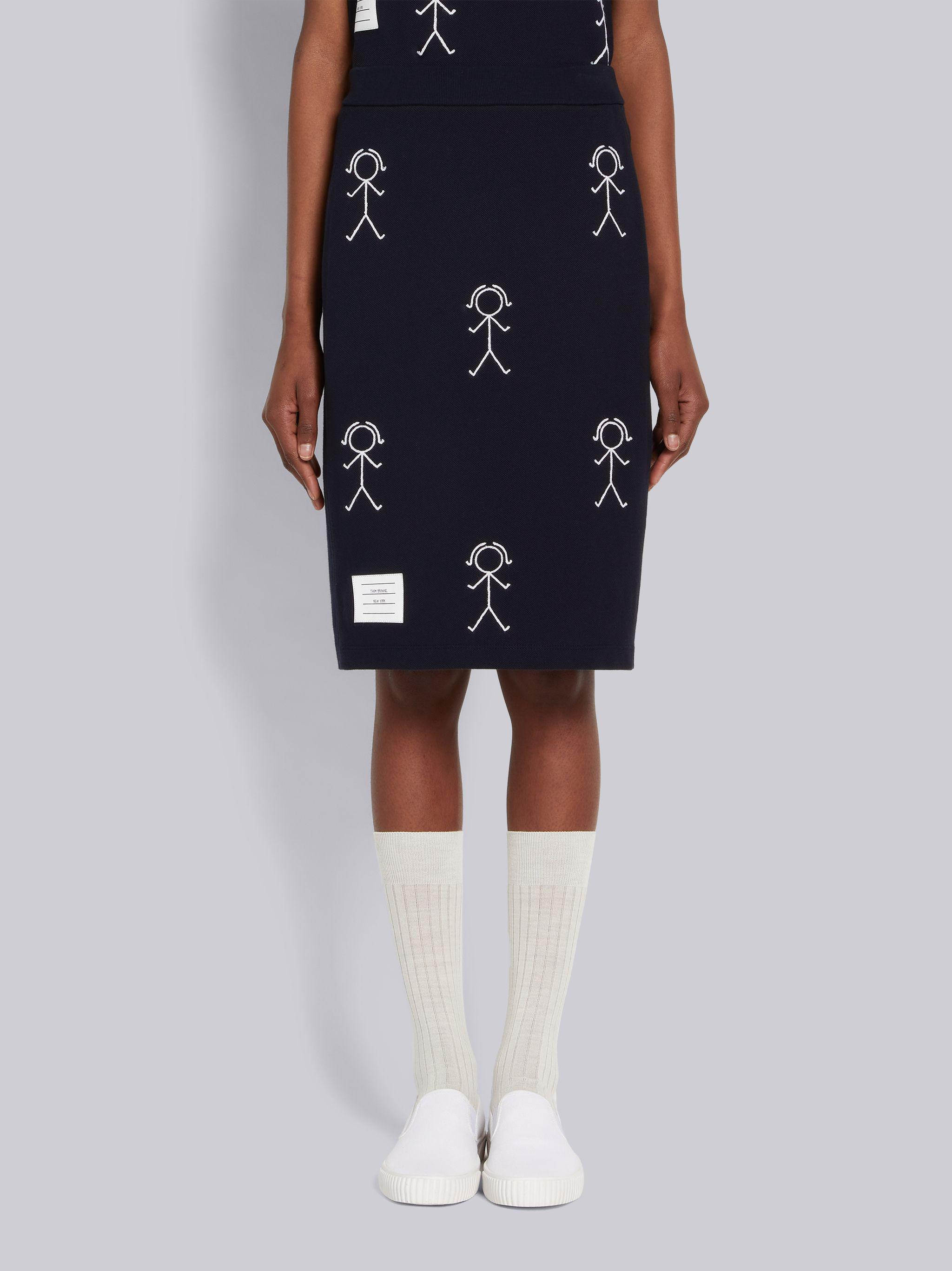 Navy Classic Pique Chain Stitch 4-Bar & Mrs. Thom Embroidery Knee Length Skirt