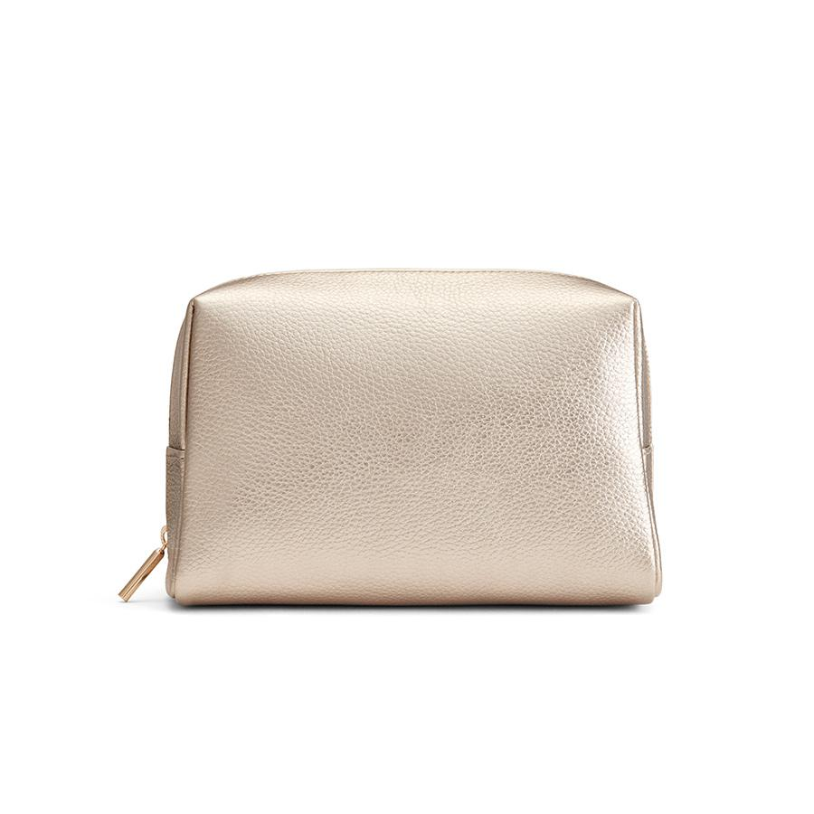Women's Vanity Case in Champagne | Shimmer Leather by Cuyana