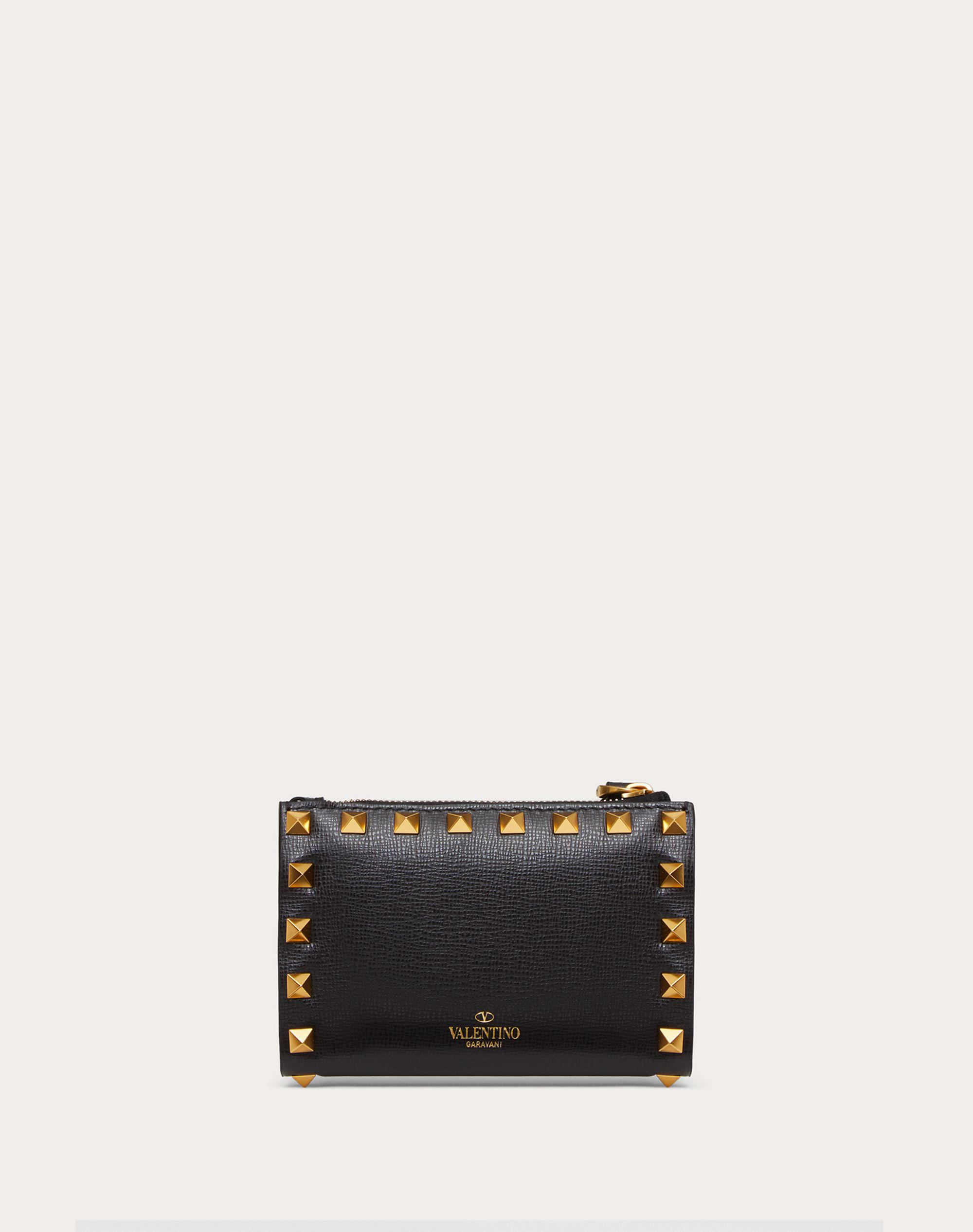 VALENTINO GARAVANI ROCKSTUD COIN PURSE AND CARDHOLDER IN GRAINY CALFSKIN LEATHER WITH ALL-OVER STUDS 2