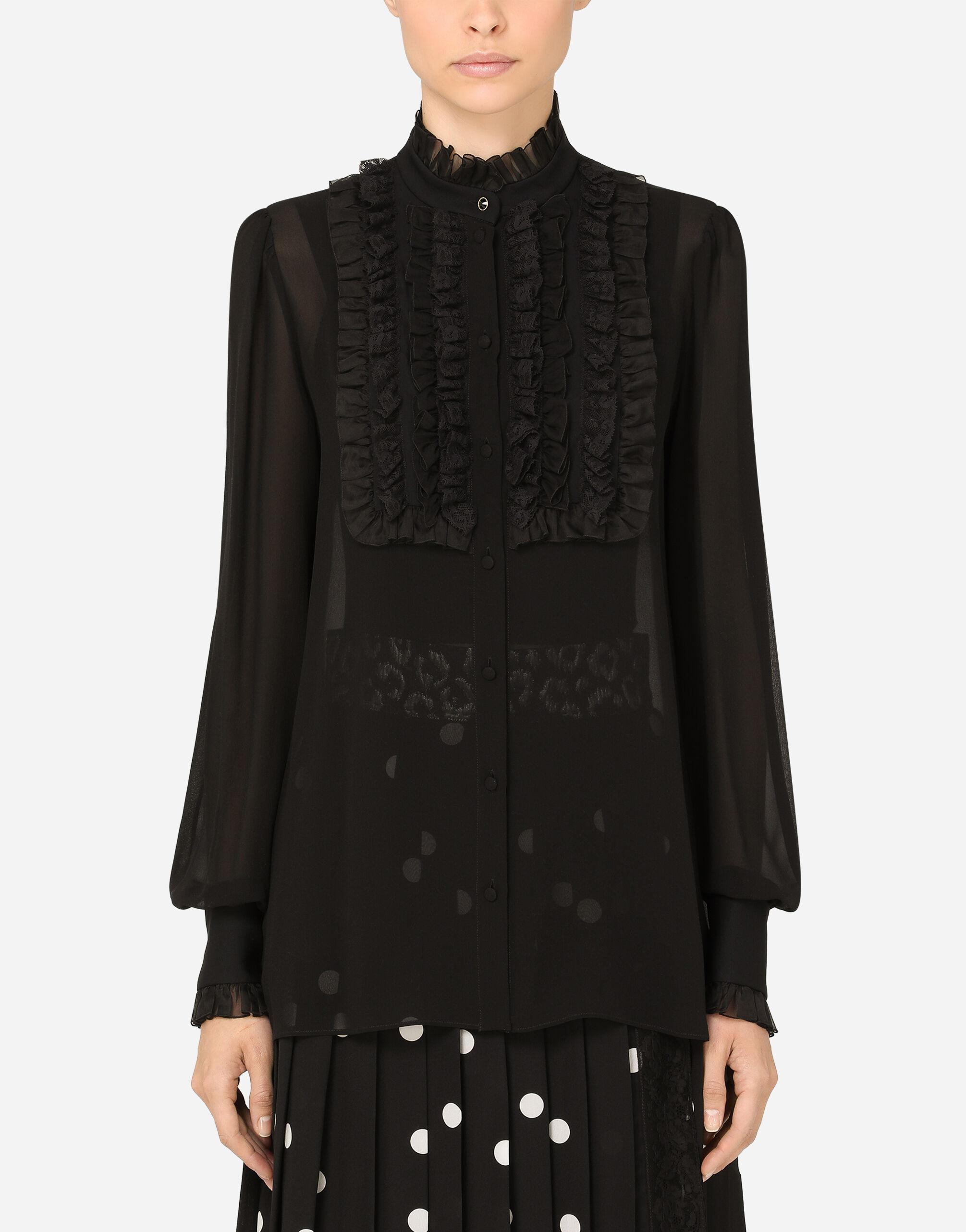 Silk georgette shirt with lace shirt front
