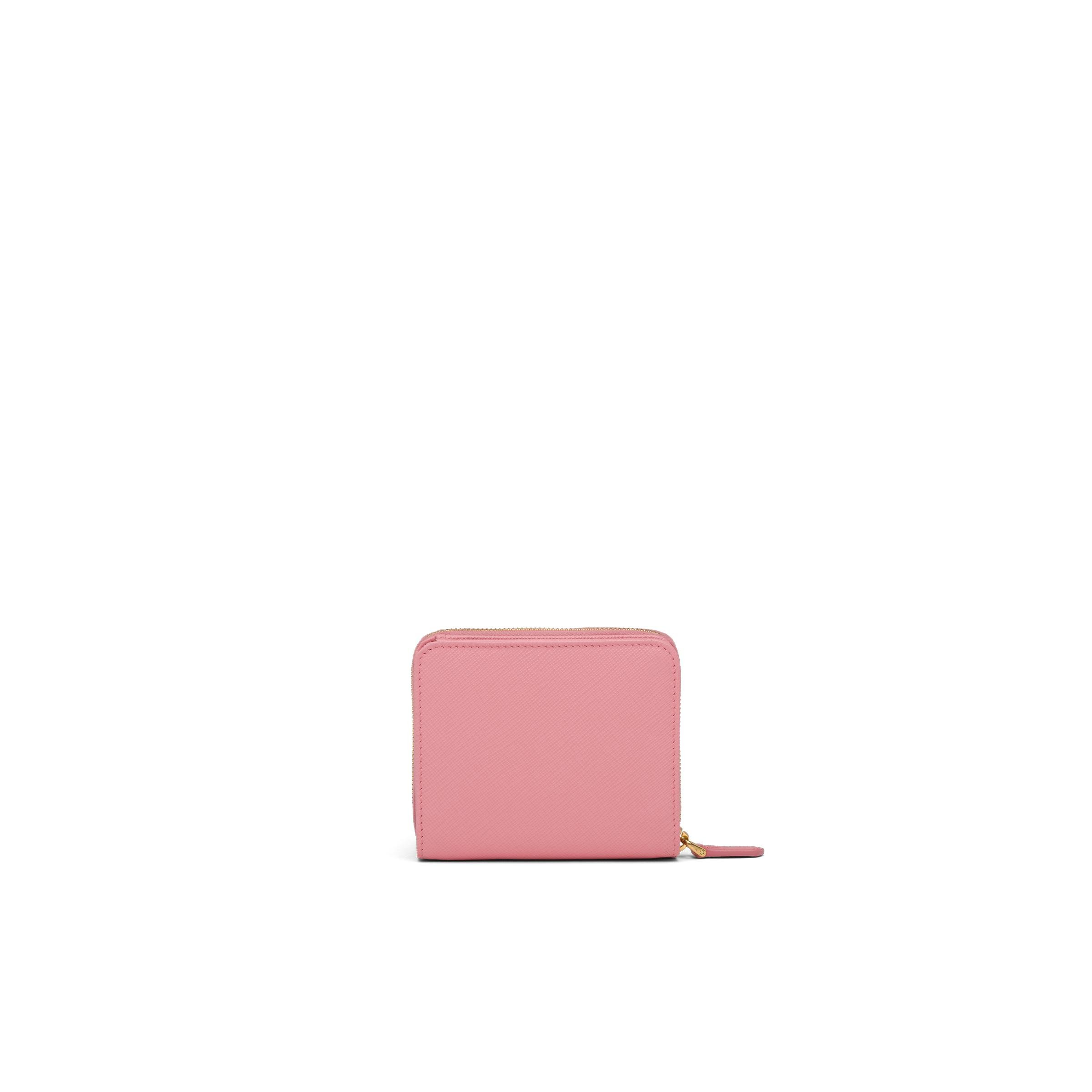Small Saffiano Leather Wallet Women Petal Pink 4