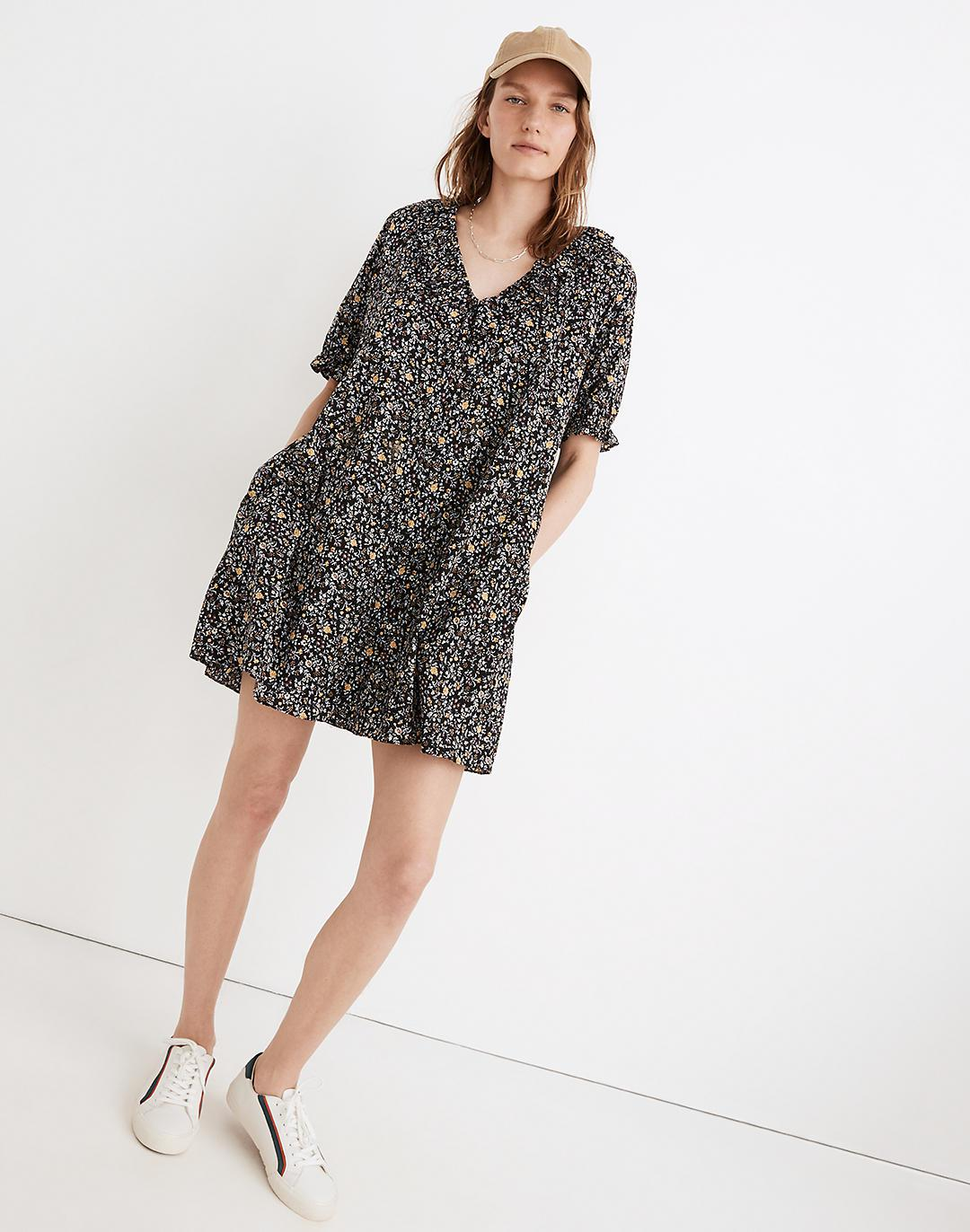 Ruffle Button-Front Trapeze Dress in Folkmagic Floral