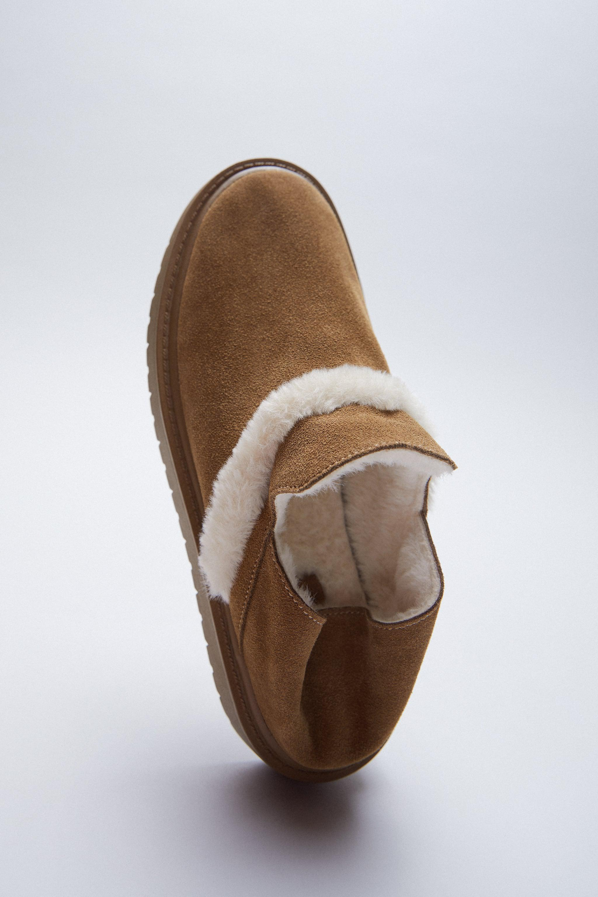 FAUX FUR LINED LOW HEELED LEATHER SHOES 2