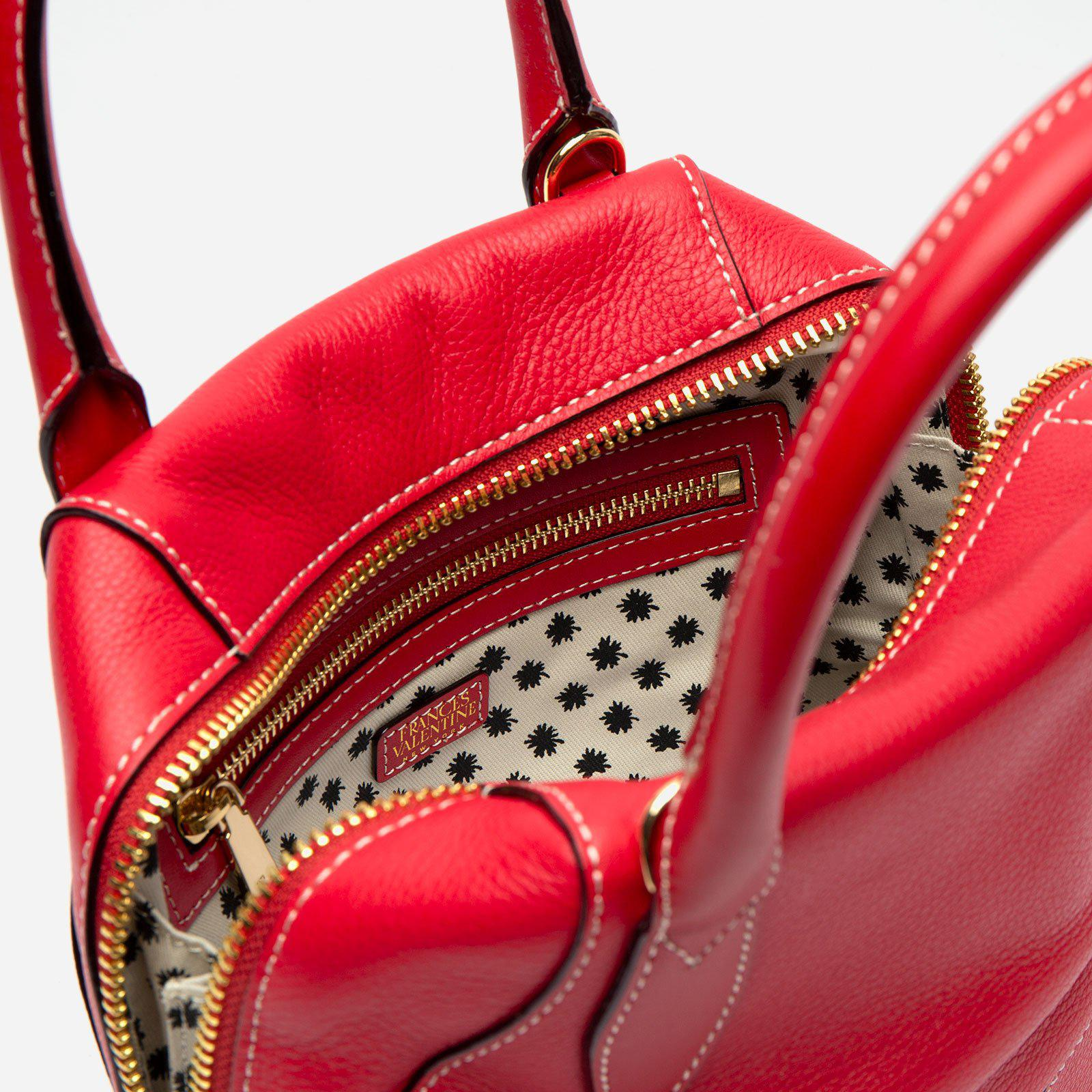 Small Abby Tote Tumbled Leather Red 4