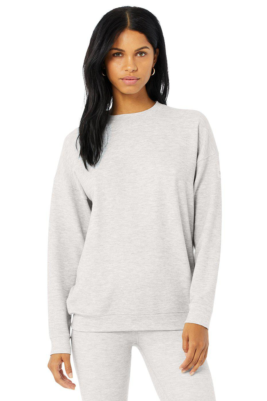 Micro Waffle Relaxation Pullover - Dove Grey Heather 0