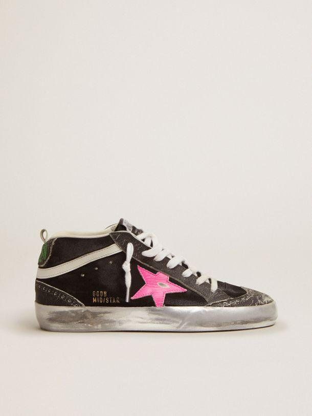 Mid Star sneakers in black suede with crackle leather details