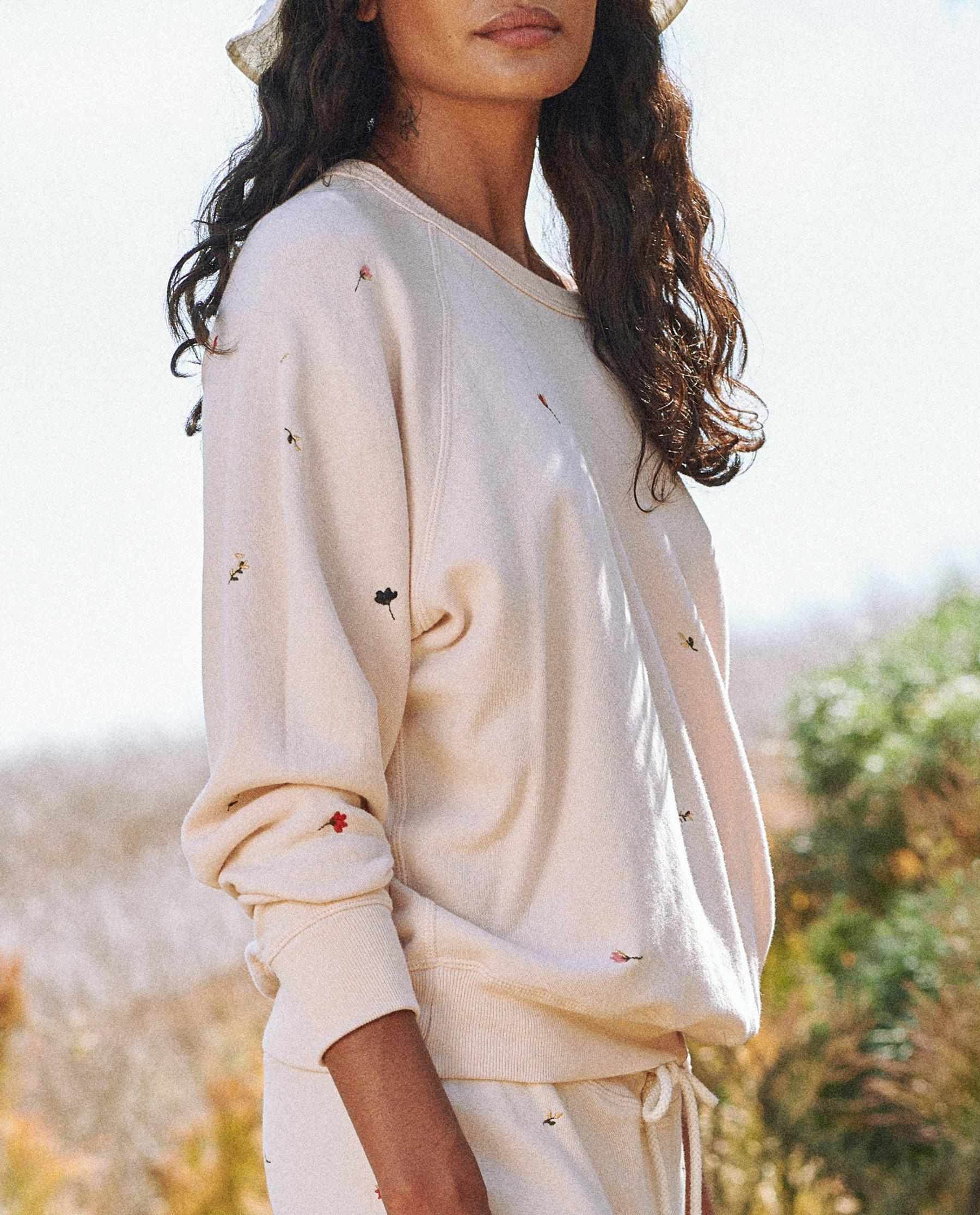 The College Sweatshirt. Embroidered -- Whisper Pink with Tossed Floral Embroidery 2