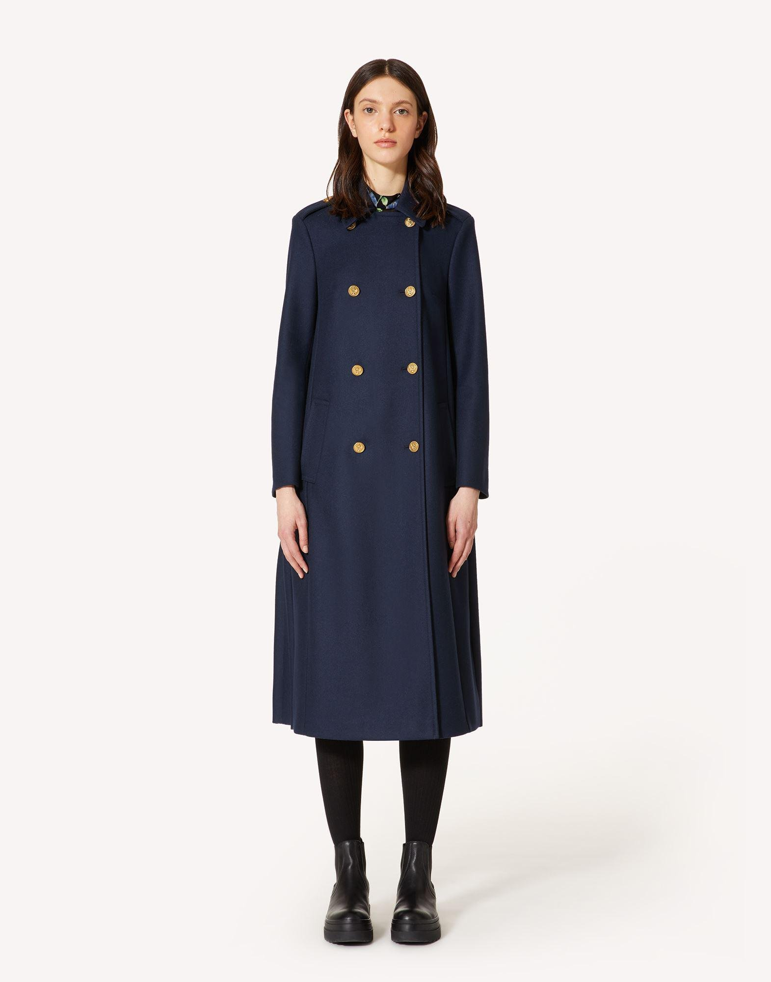 FELT WOOL COAT WITH MARINE BUTTONS