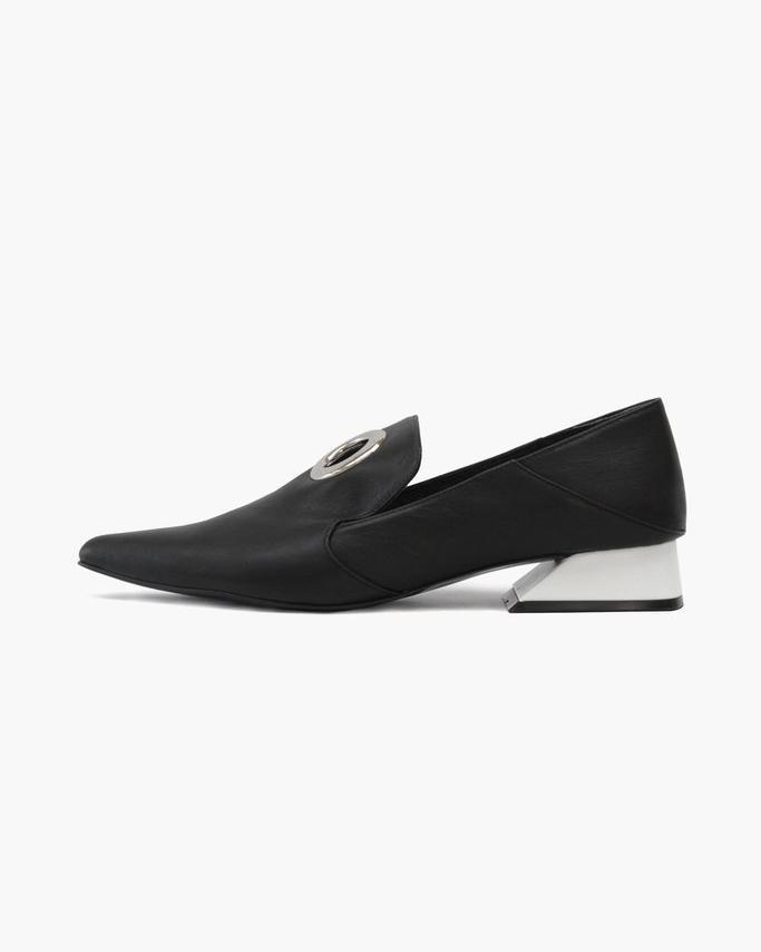 Eyelet Peek-a-Boo Loafer with White Heel Leather Black - SPECIAL PRICE