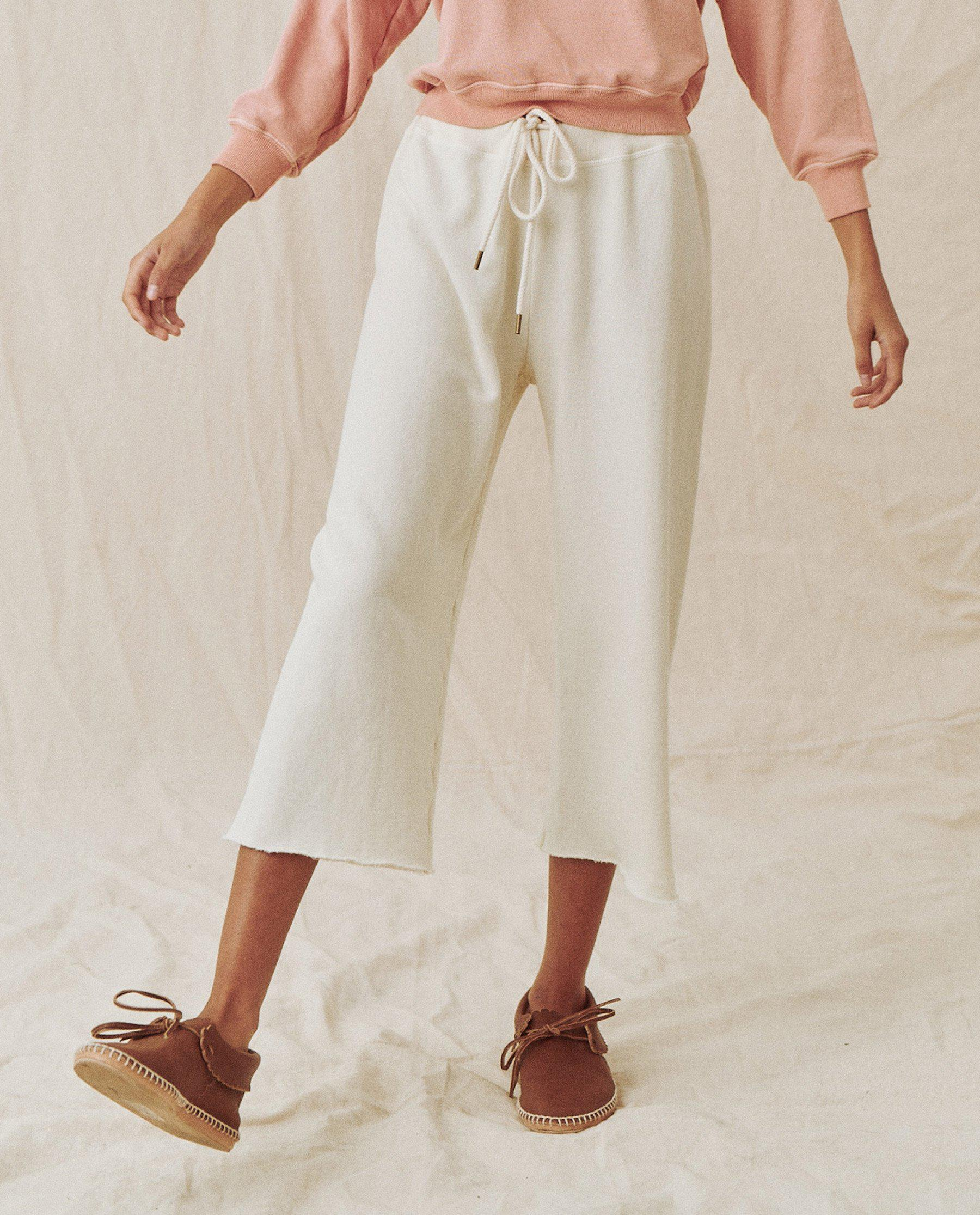 The Shrunken Sweatshirt and The Wide Leg Cropped Sweatpant Set. -- Washed White 2