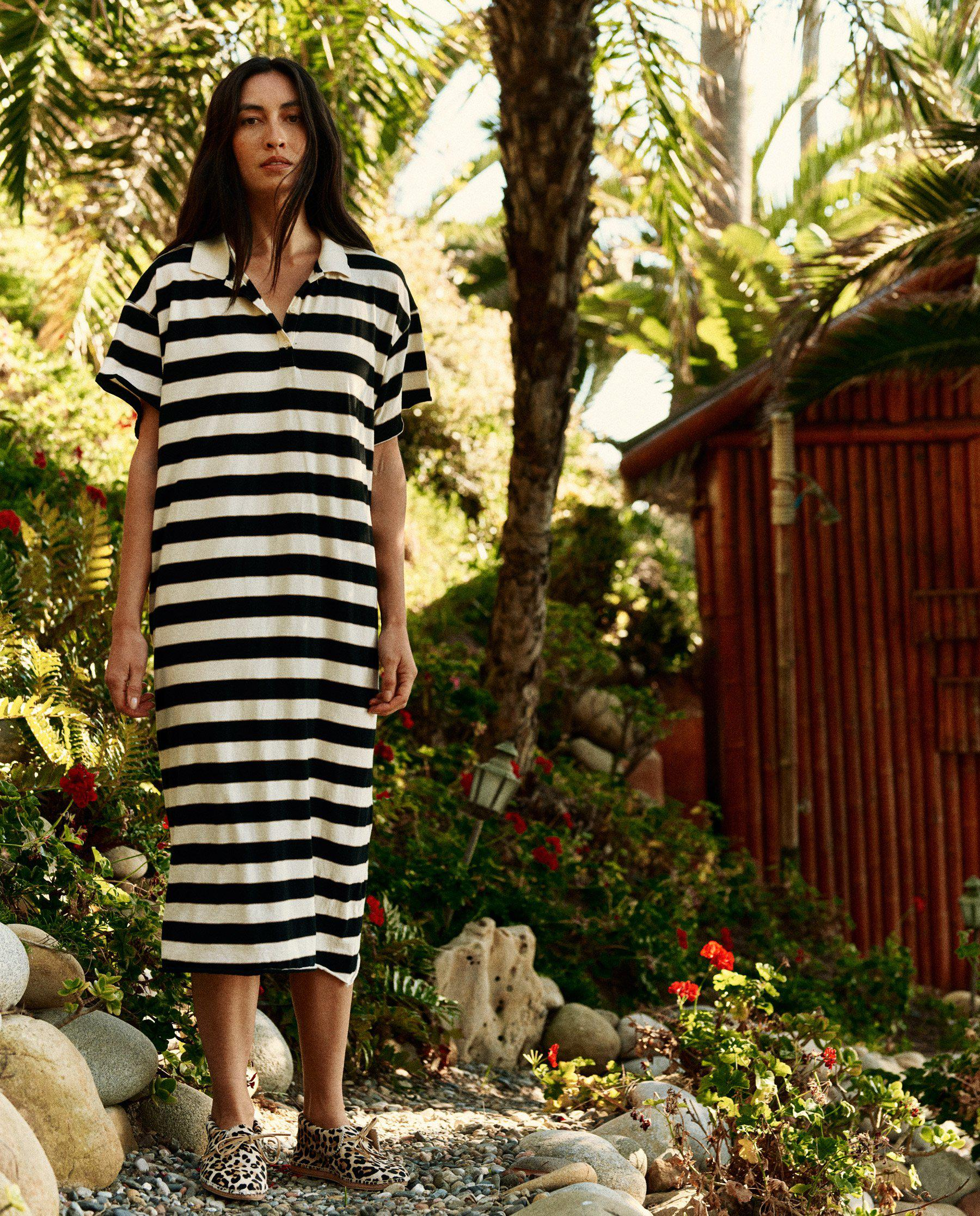 The Polo Dress. -- Black Rugby Stripe