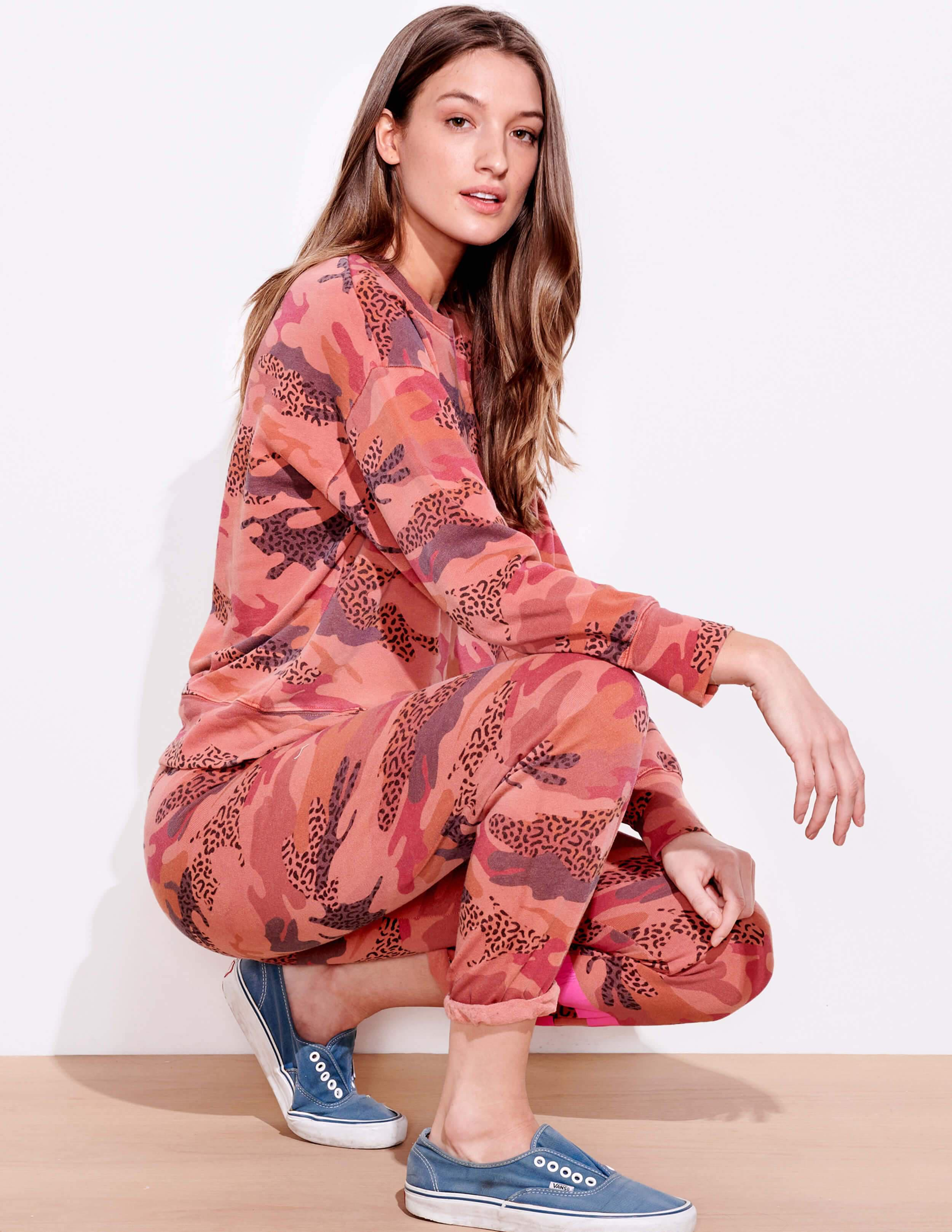 Abstract Camo Oversize Pullover