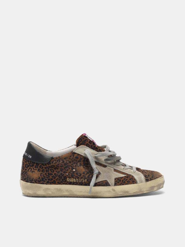 Super-Star sneakers in leopard flock-print leather