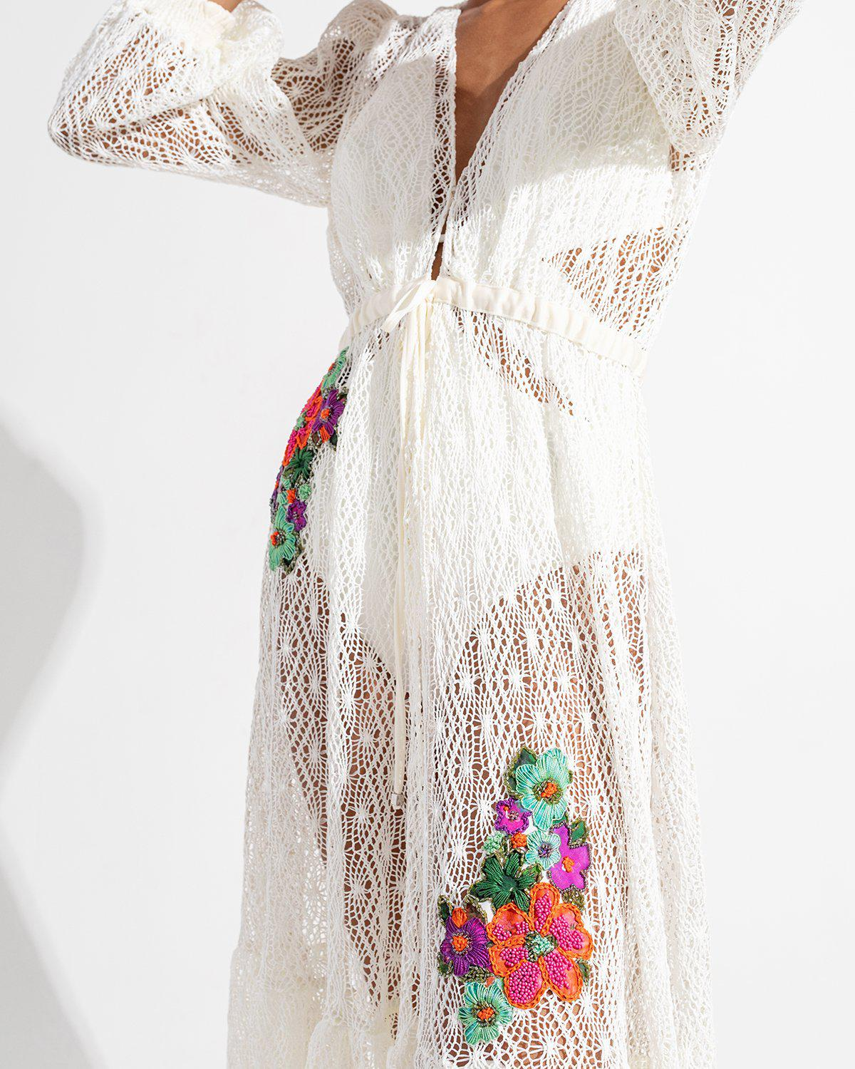 Embroidered Crochet Coverup Dress 5