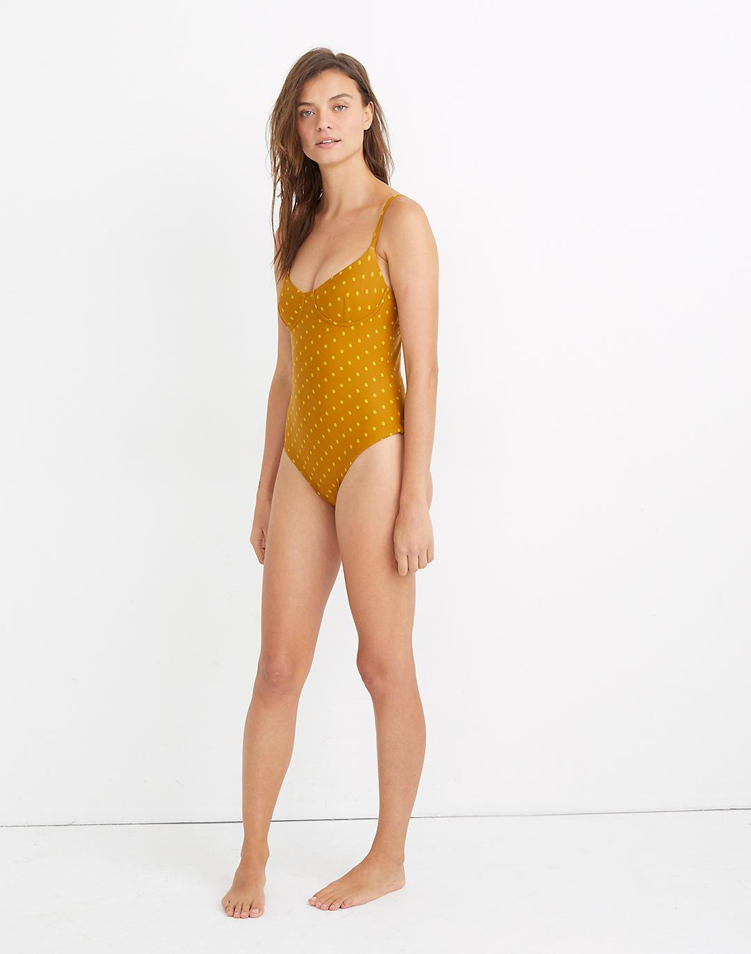 Madewell Second Wave Seamed One-Piece Swimsuit in Polka Dot 1
