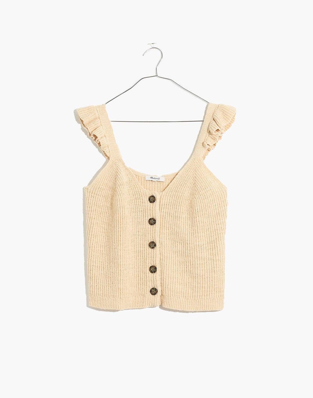 Ruffle-Strap Button-Front Sweater Tank 3