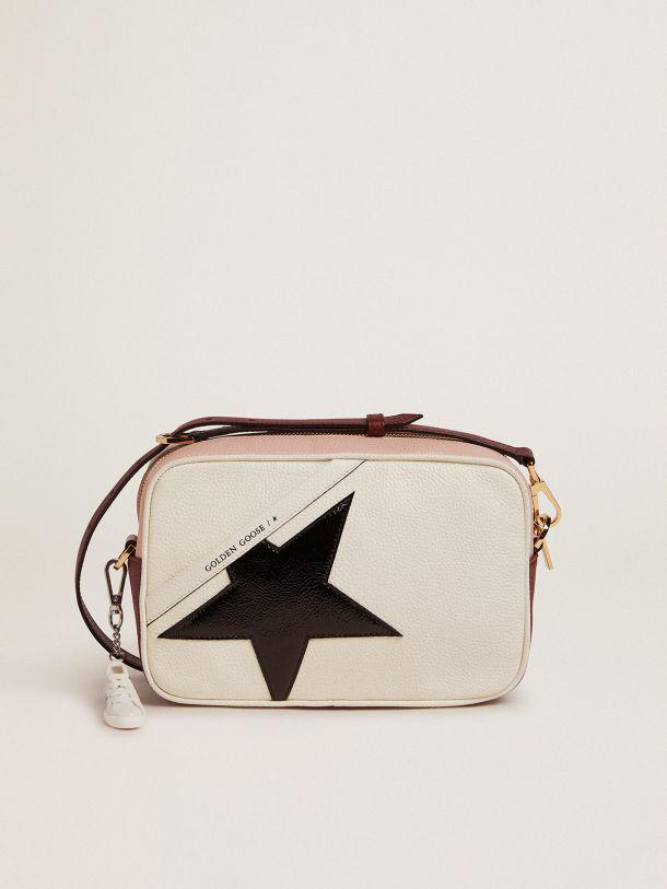 White and pink Star Bag with black patent leather star