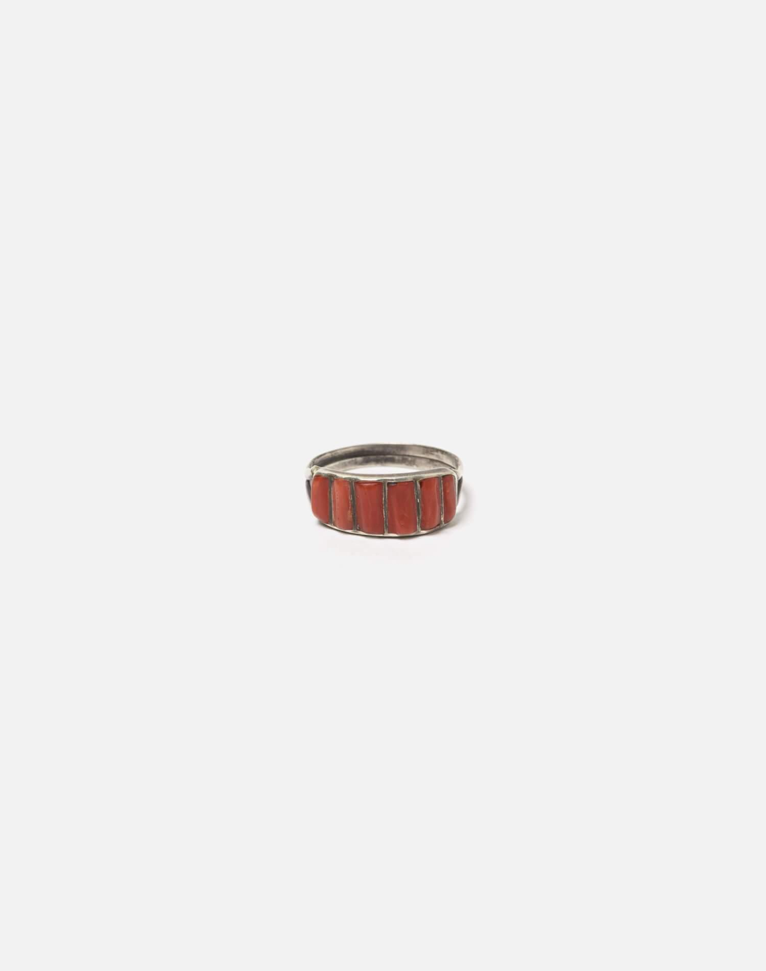 1950s Zuni Inlaid Coral And Sterling Ring - #100