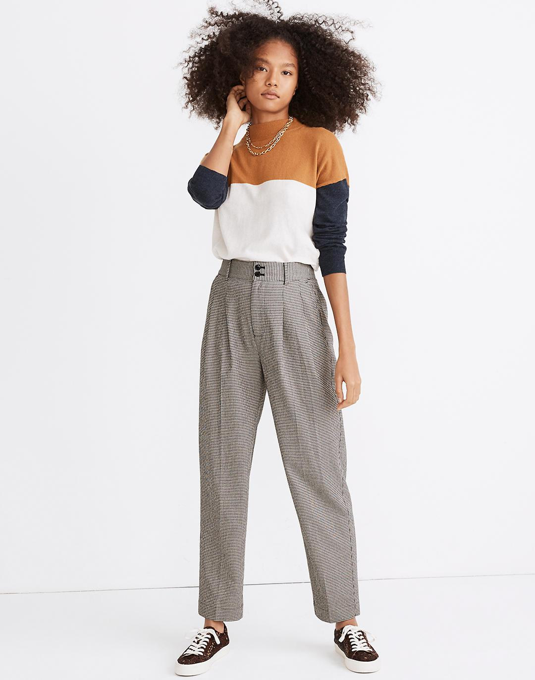 Pleated Taper Wide-Leg Pants in Mini Houndstooth