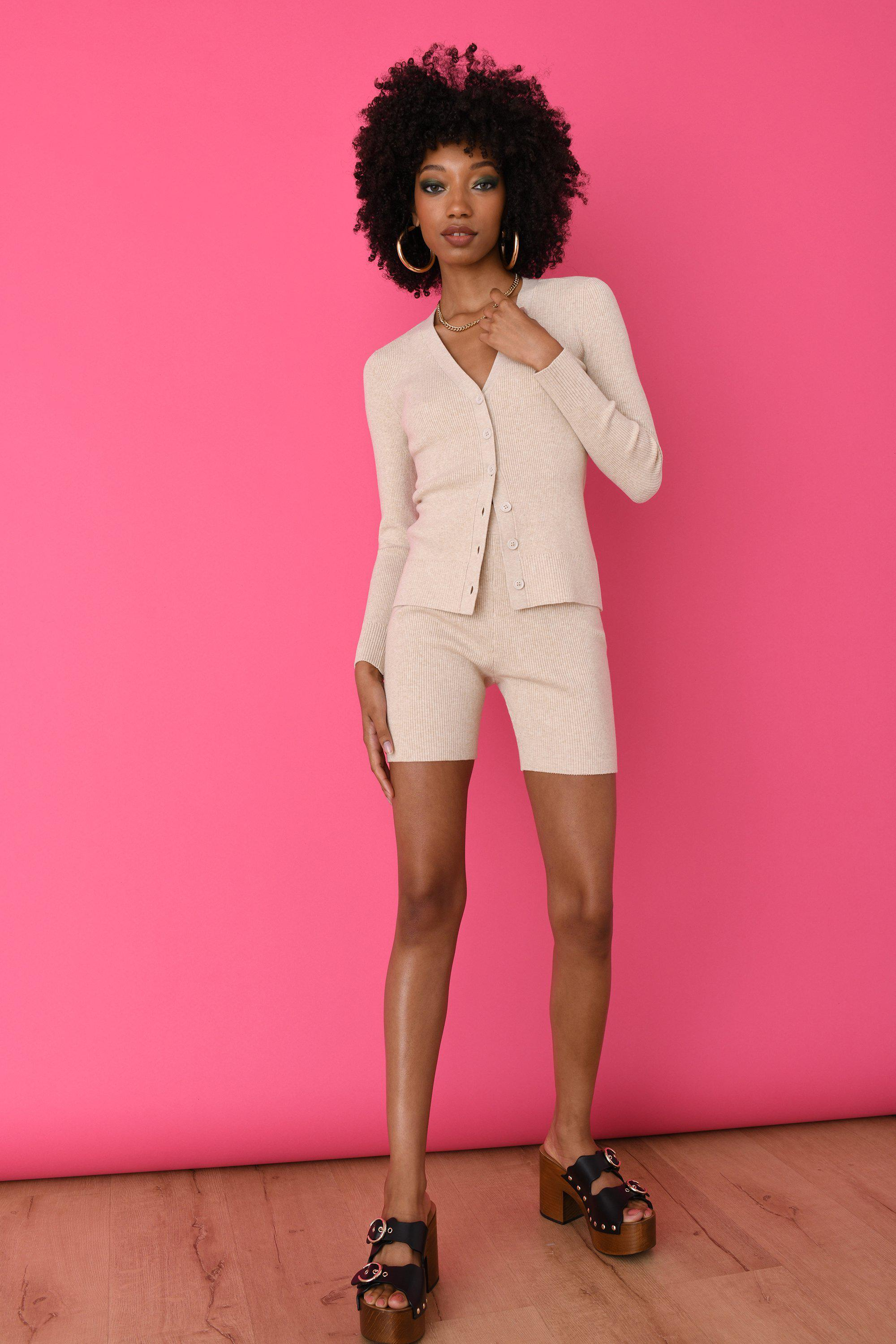 Blonde Ribbed Fitted Cardigan