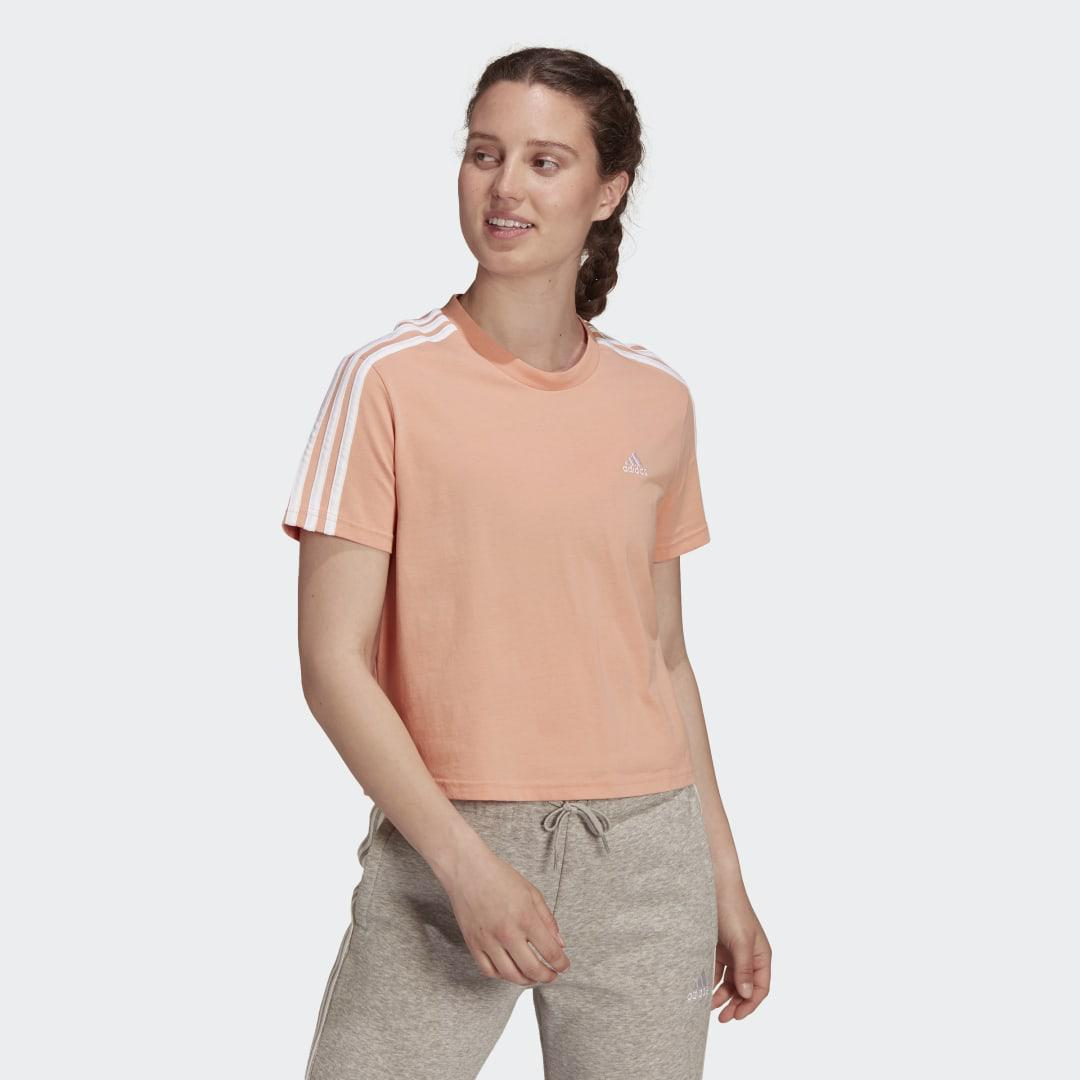 Essentials Loose 3-Stripes Cropped Tee Ambient Blush