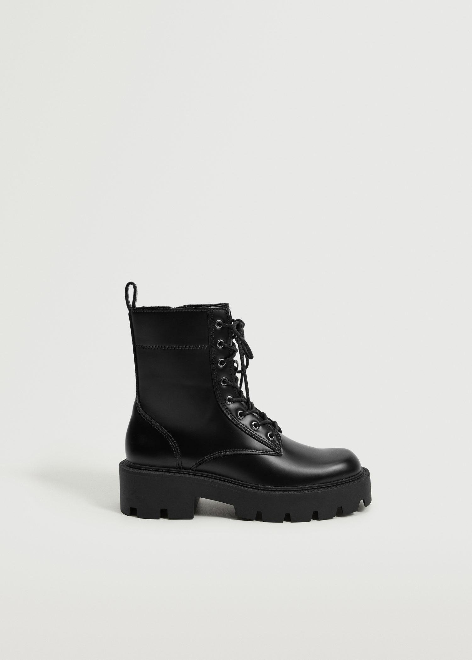 Lace-up track sole boots