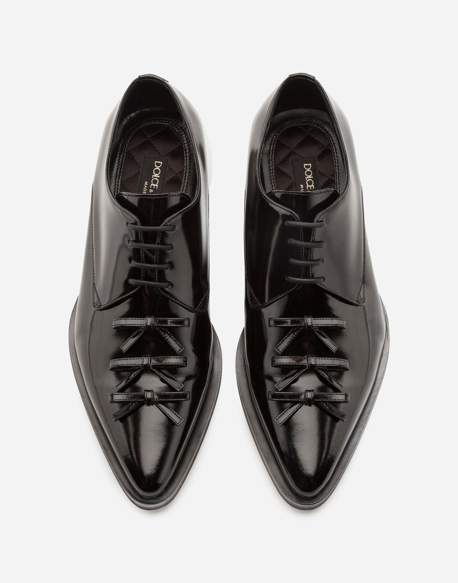 Polished calfskin derby with bows 3