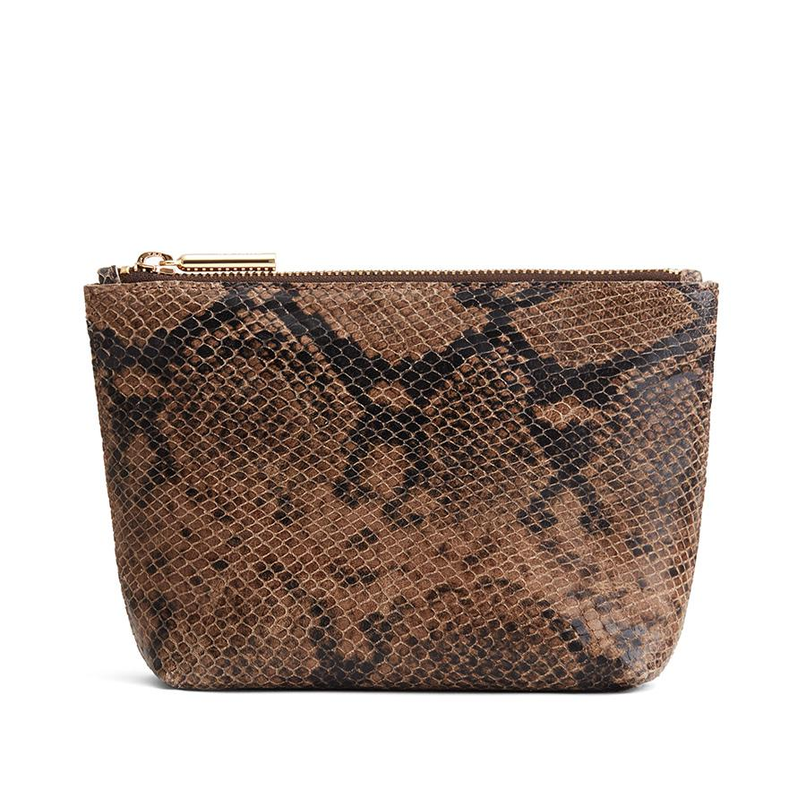 Women's Mini Leather Zipper Pouch in Brown Snake | Snake-Embossed by Cuyana