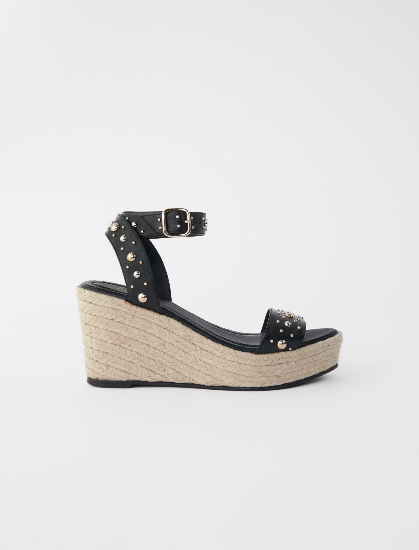 WEDGE SANDALS WITH LEATHER STRAPS