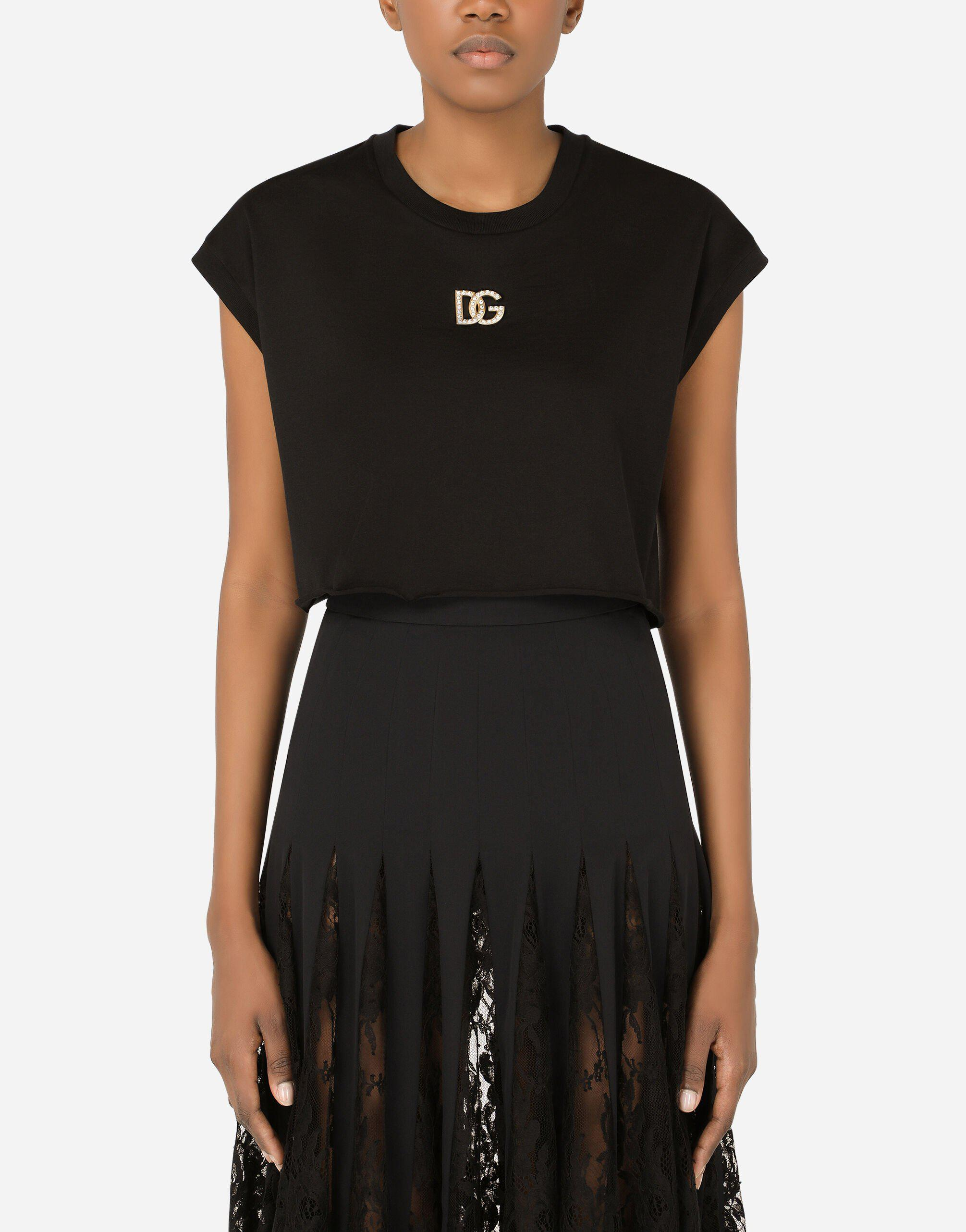 Cropped jersey T-shirt with crystal DG embellishment