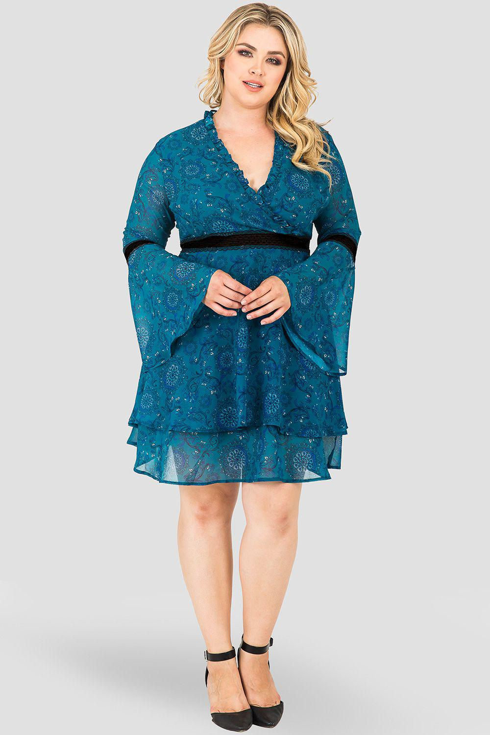 Plus Size Etsy Wrap Over Flared Sleeves Tiered Skirt with Velvet Trim Dress