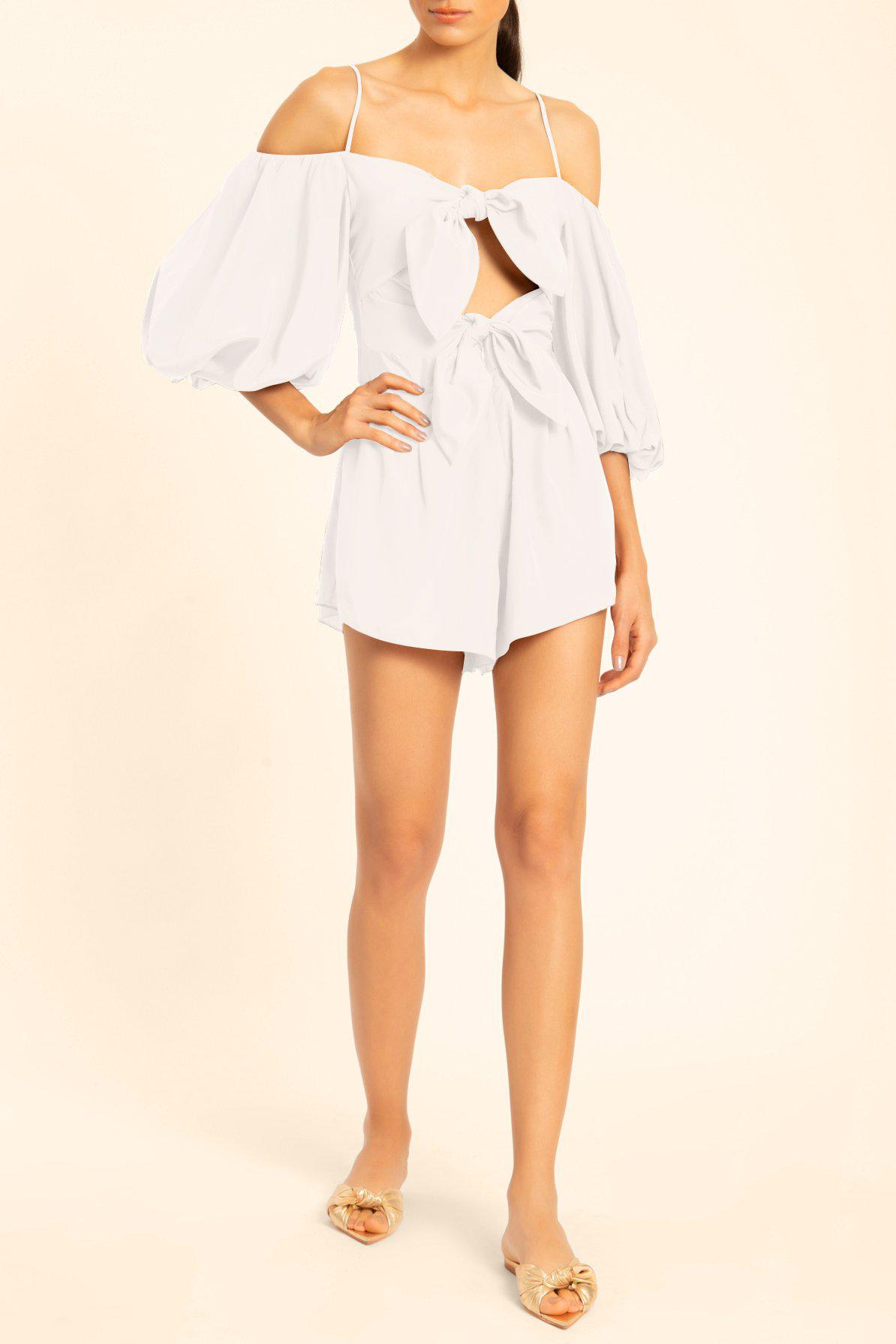 Linen Playsuit With Double Knot