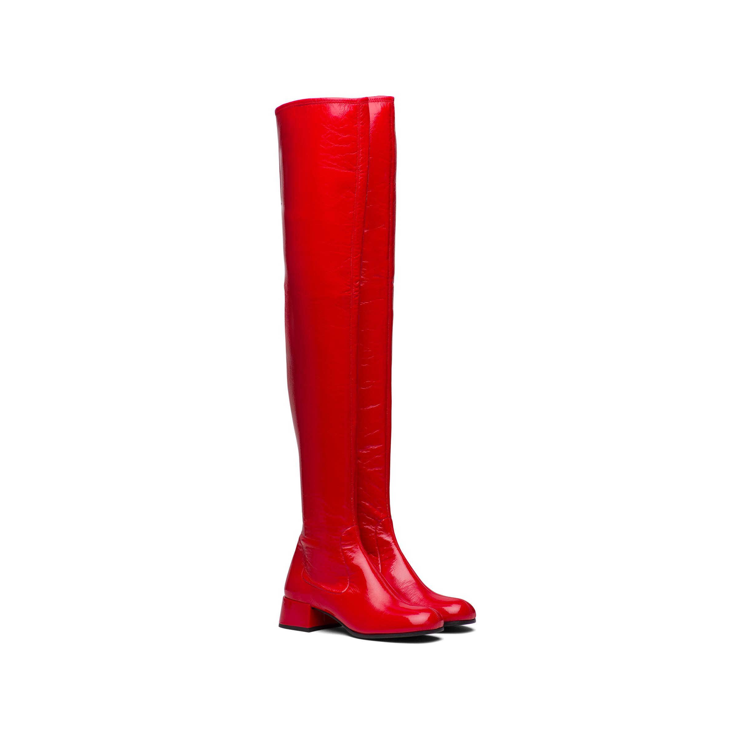 Technical Patent Leather Boots Women Red