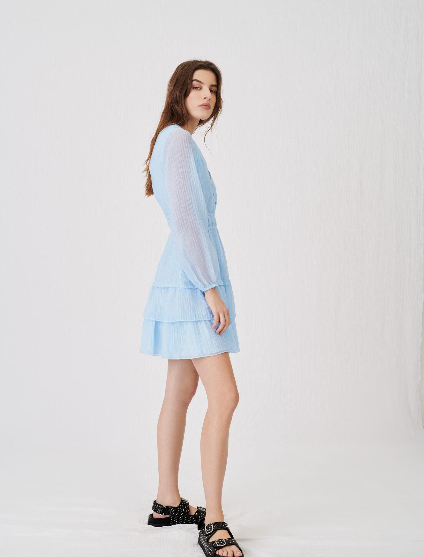 CRINKLE-EFFECT VOILE DRESS WITH RUFFLES 2