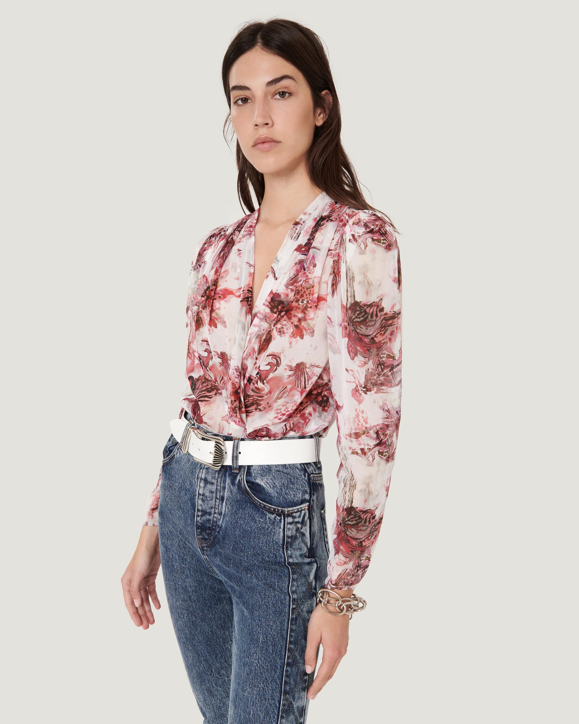 SYLA PRINTED PUFF SLEEVE BLOUSE TOP