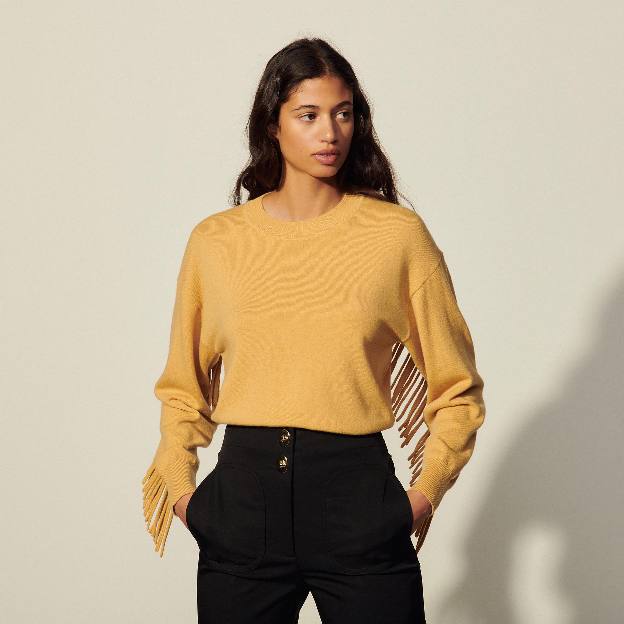 Wool and cashmere sweater with fringing