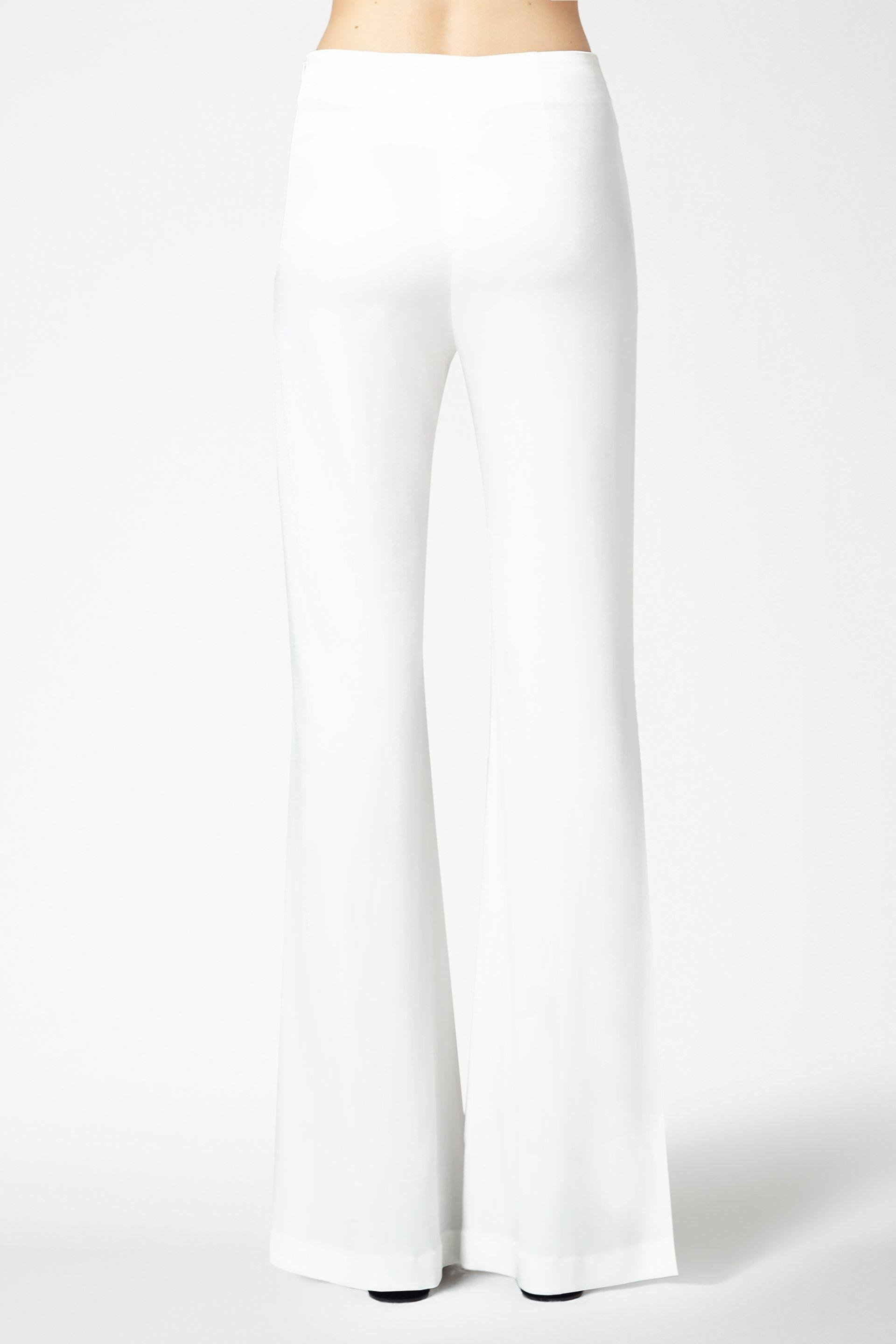 High Waisted Satin Trousers - White 3