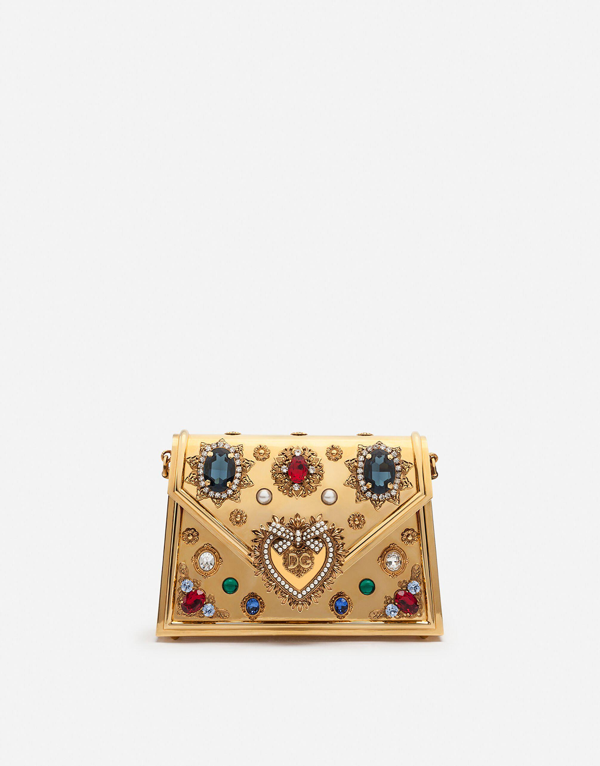Small metallic Devotion bag with bejeweled detailing