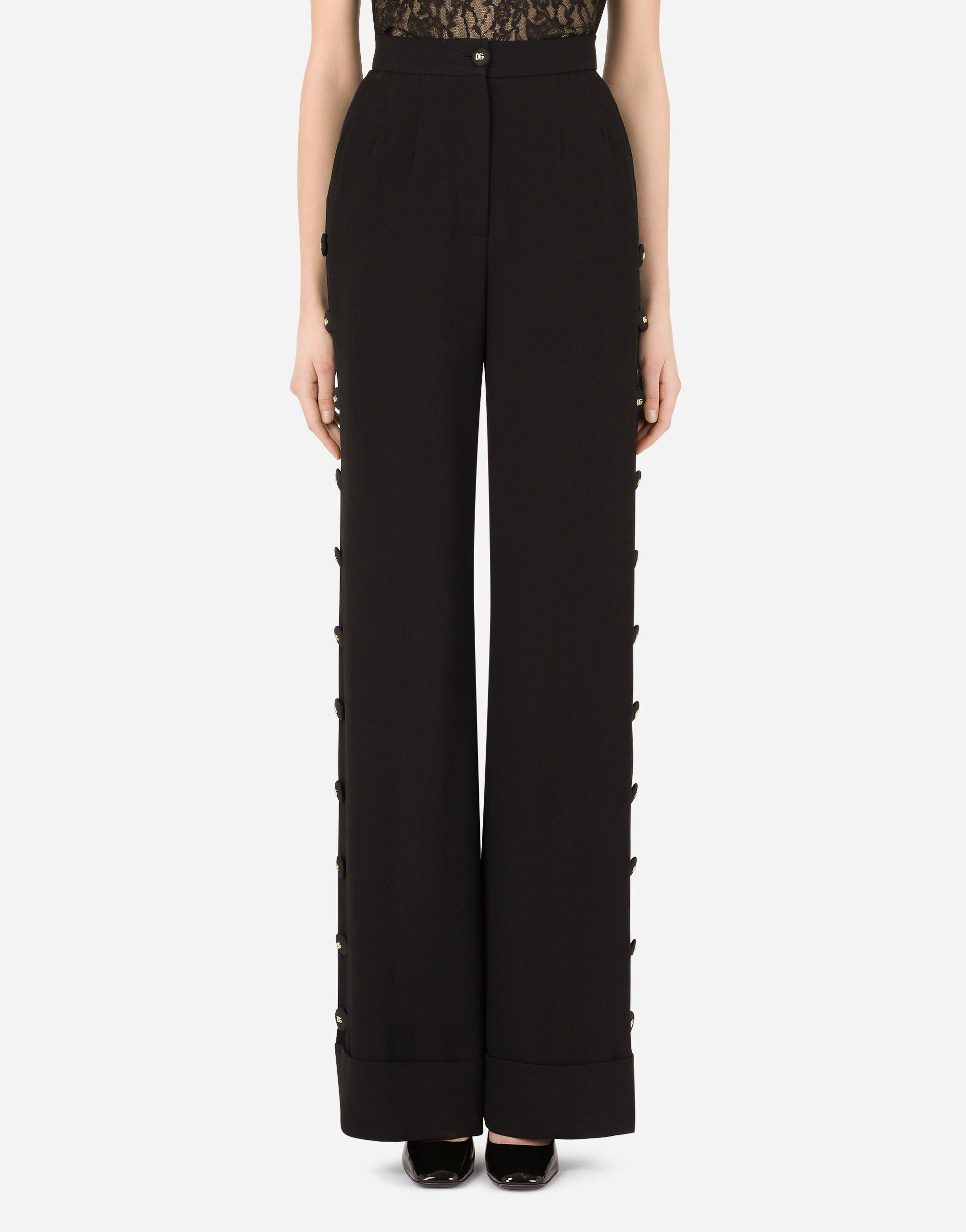 Piqué palazzo pants with buttons and turn-ups