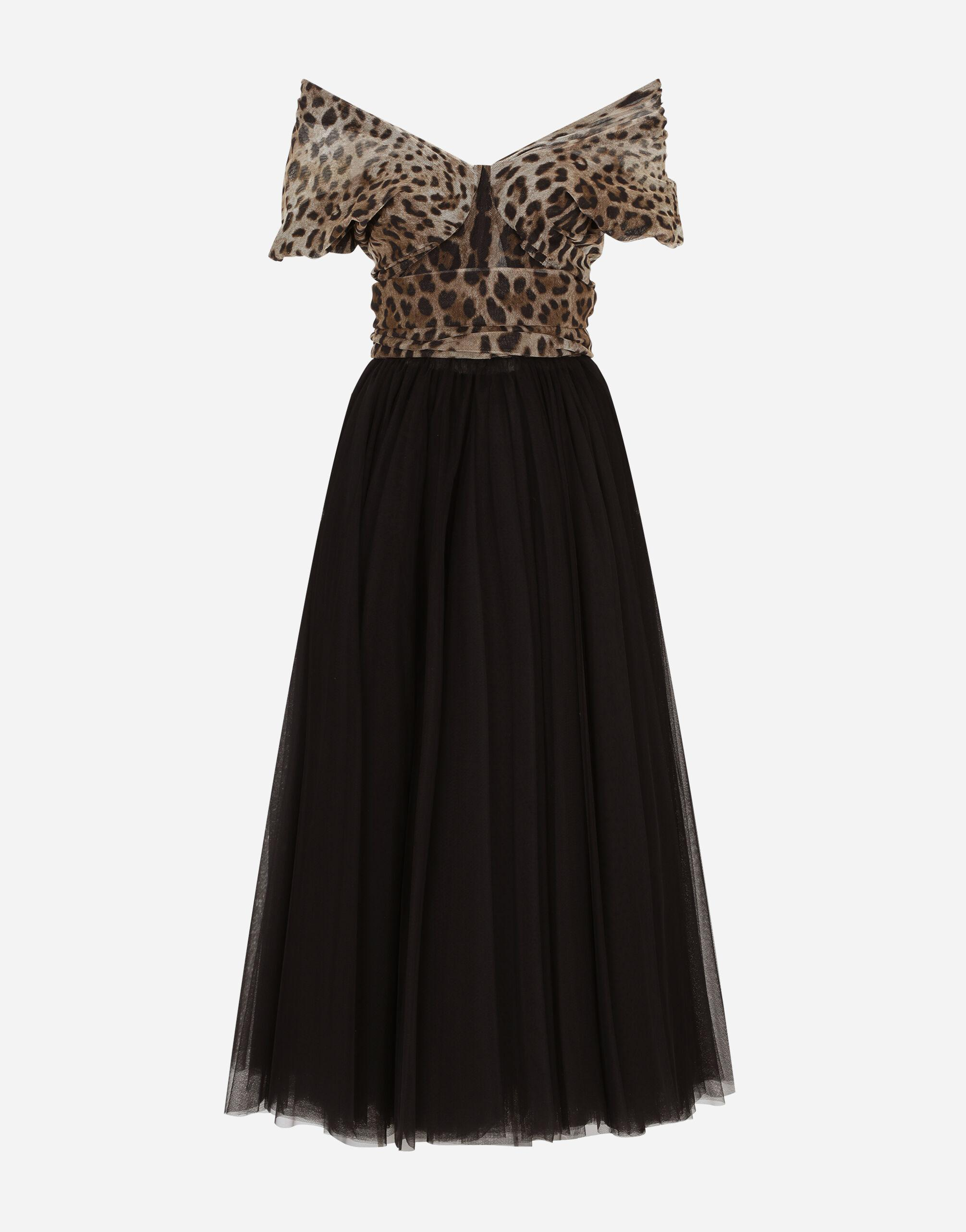 Calf-length dress in leopard-print and solid-colour tulle 6
