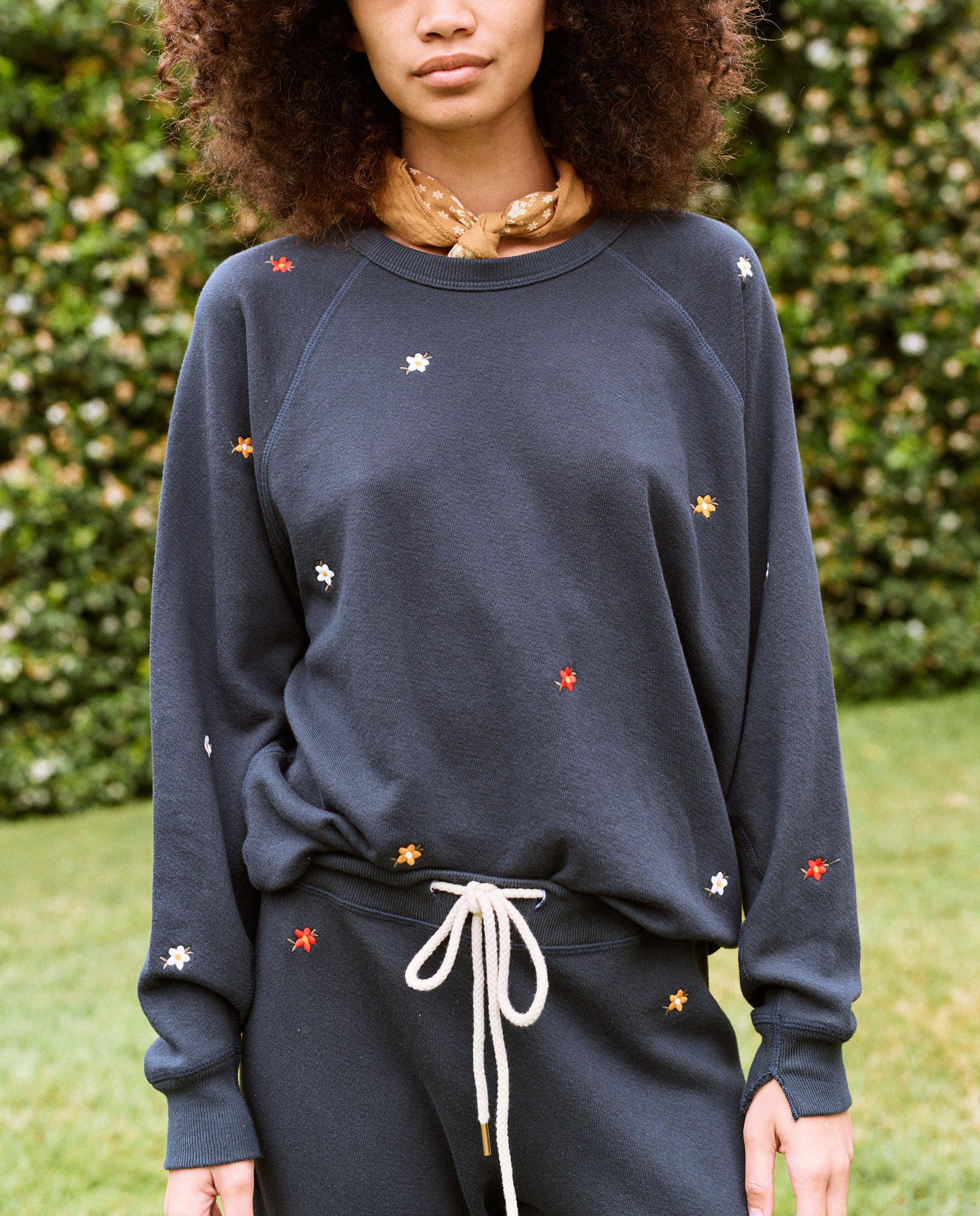 The College Sweatshirt. Embroidered -- Navy with Seed Floral Embroidery