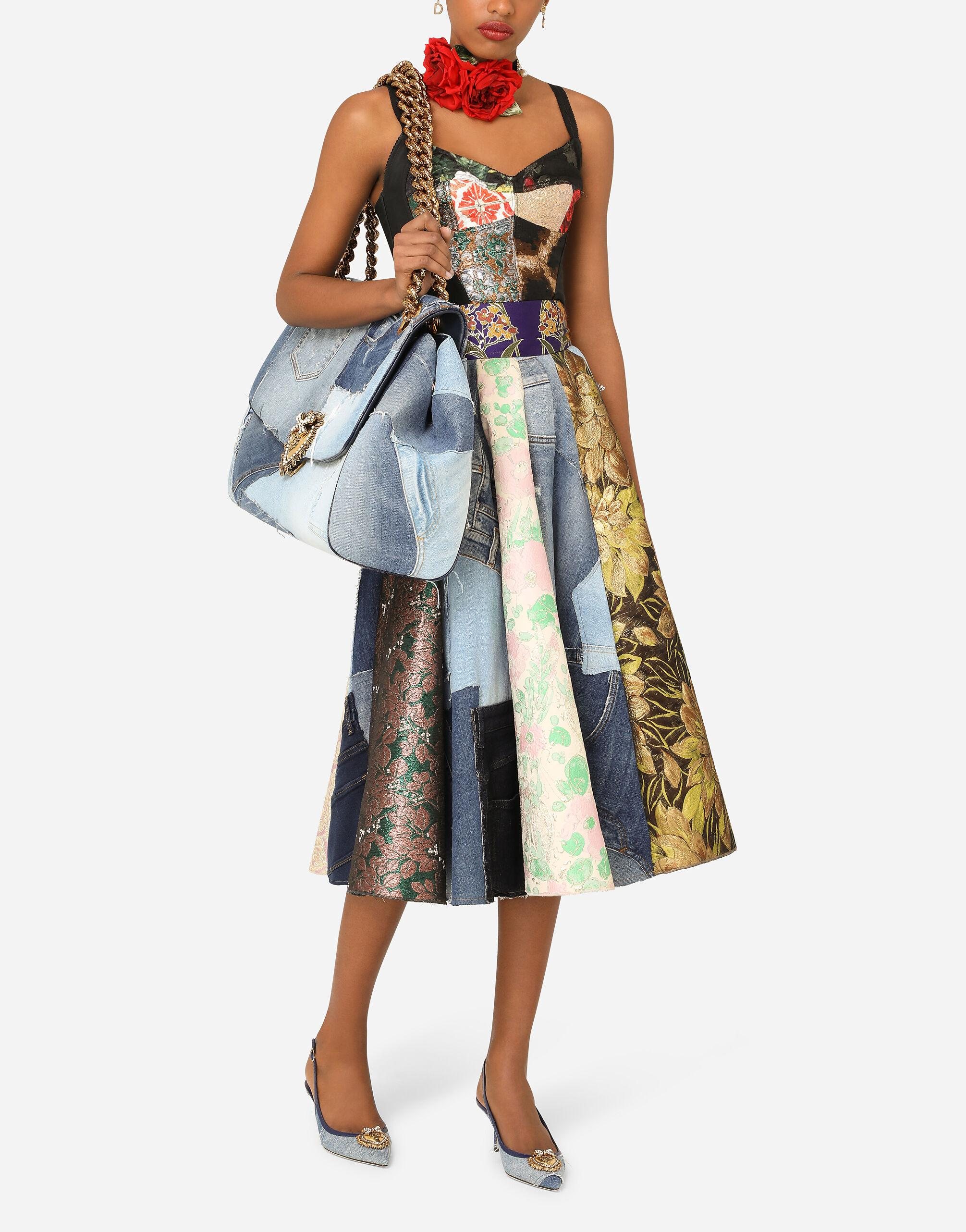 Patchwork brocade and jacquard bustier top 4