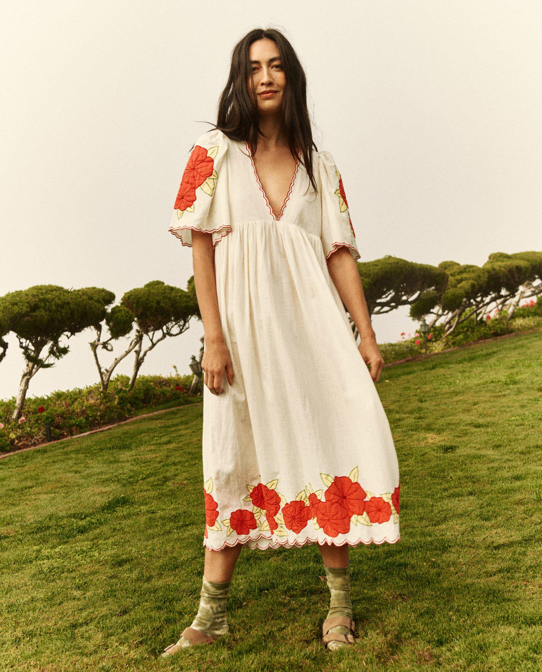 The Applique Floral Midi Dress. -- Cream with Red 0