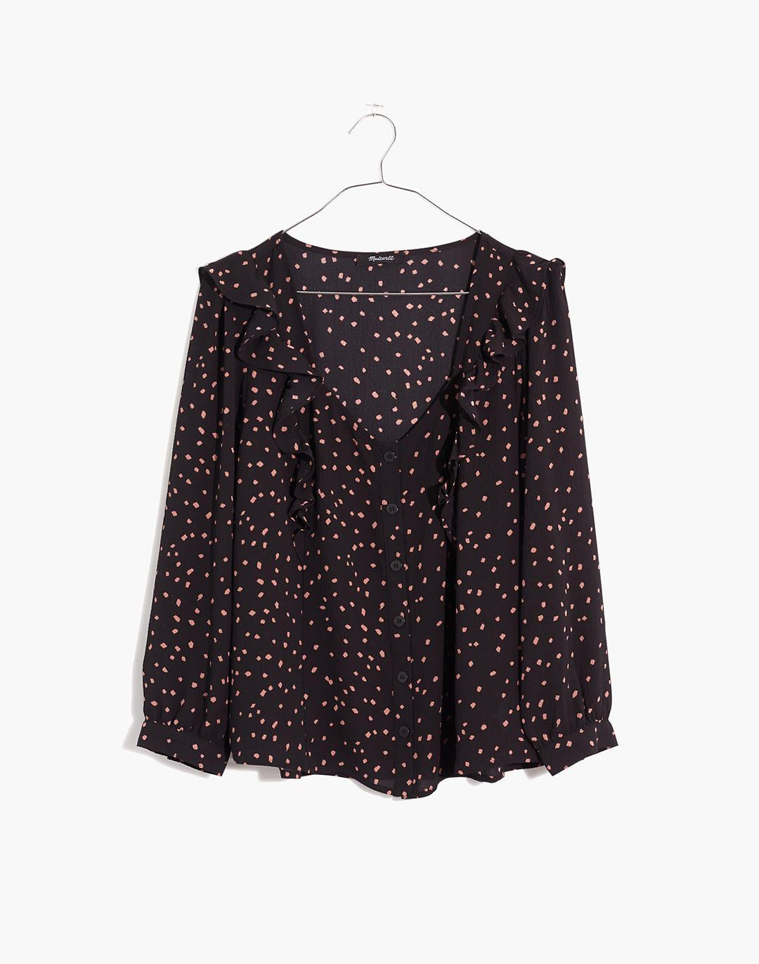 Ruffled Button-Front Top in Confetti Toss 4