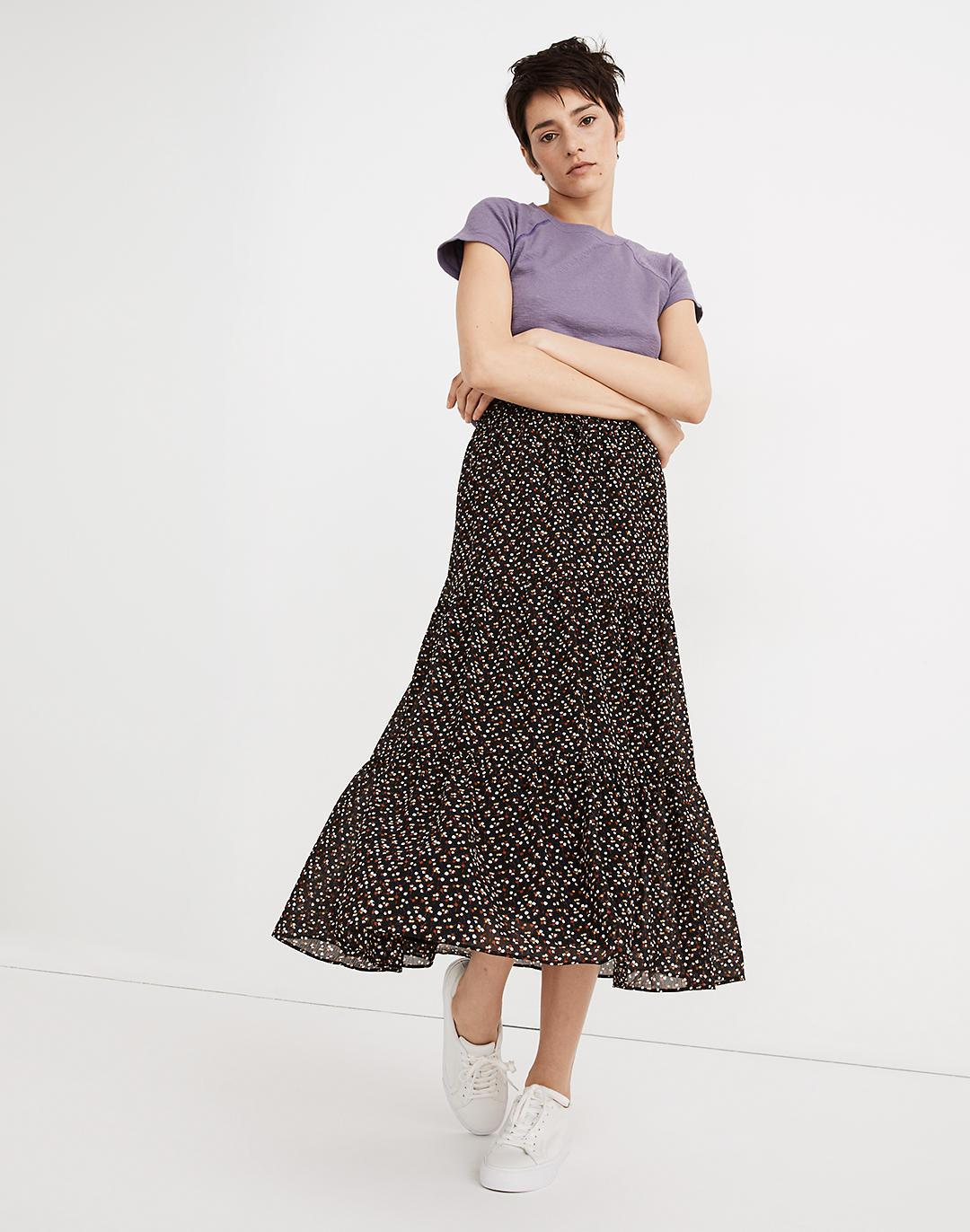 Georgette Tiered Maxi Skirt in Adorable Ditsy