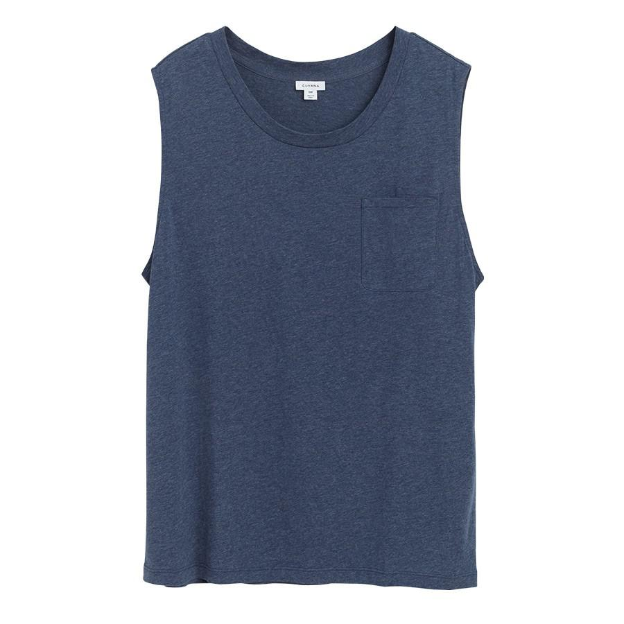 Women's Relaxed Muscle Tank in Indigo Heather | Size: XL | Pima Modal Blend by Cuyana