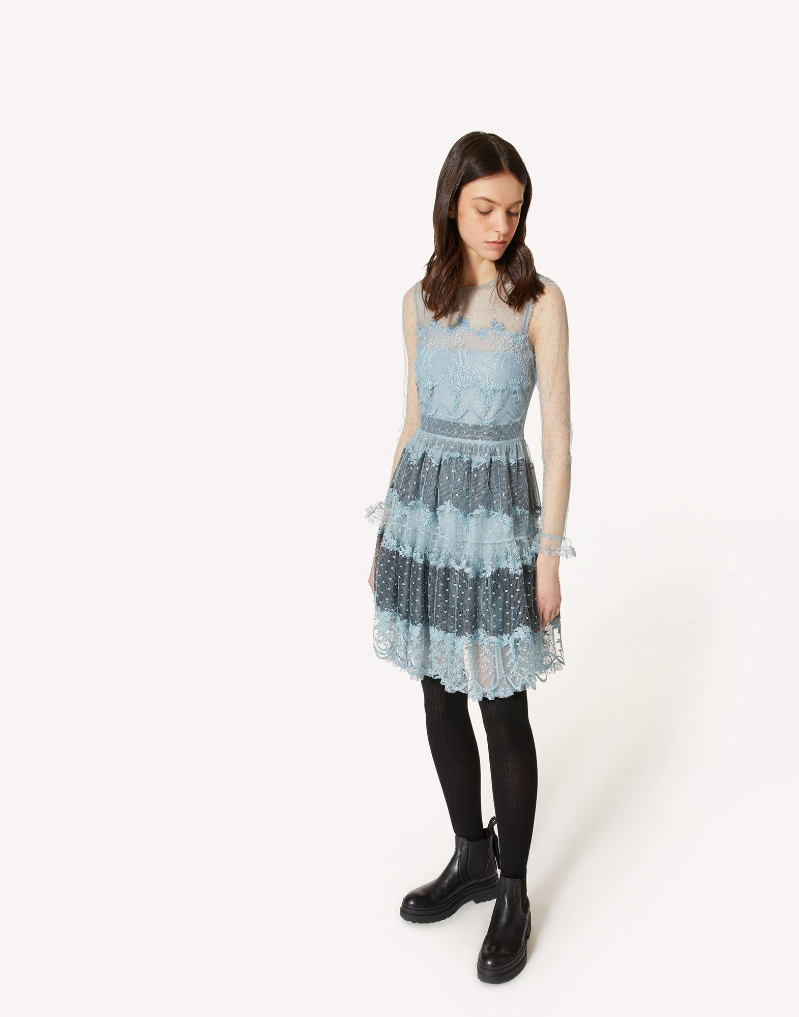 POINT D'ESPRIT TULLE DRESS WITH LACE RIBBONS 2