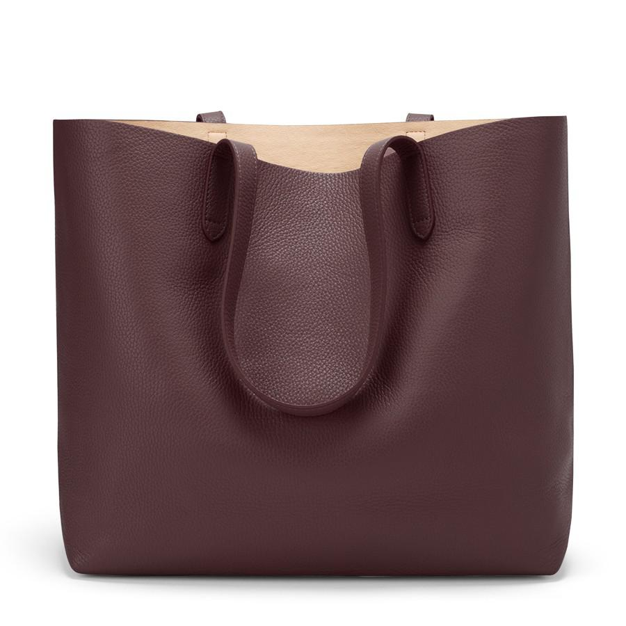 Women's Classic Structured Leather Tote Bag in Burgundy/Blush Pink | Pebbled Leather by Cuyana
