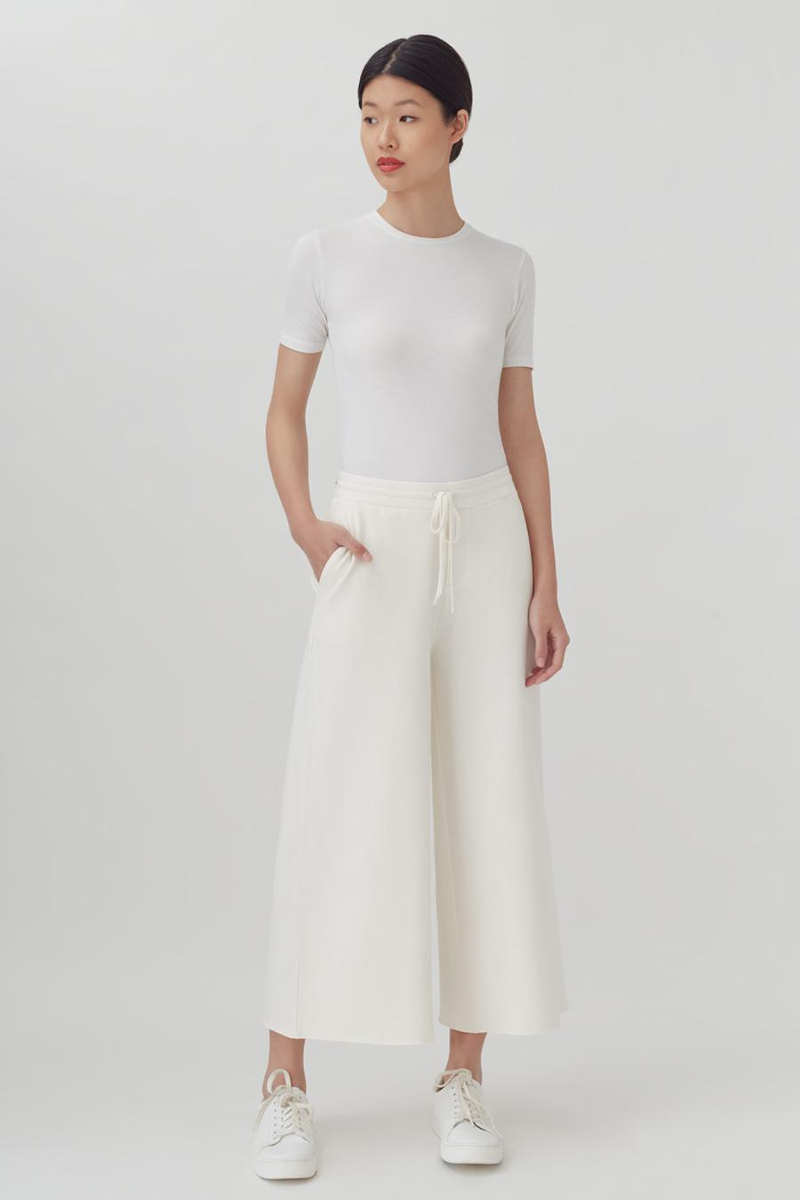 Women's French Terry Wide-Leg Cropped Pant in Ecru   Size: 1